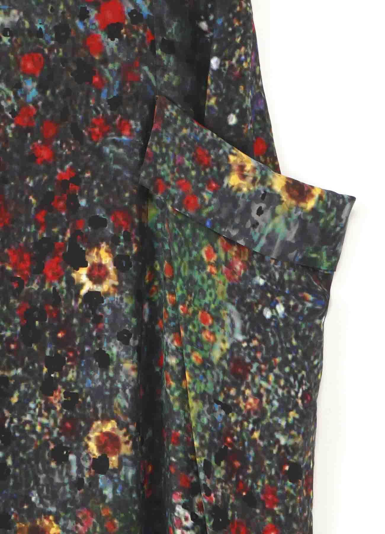 花畑柄左ポケット垂れスカート
