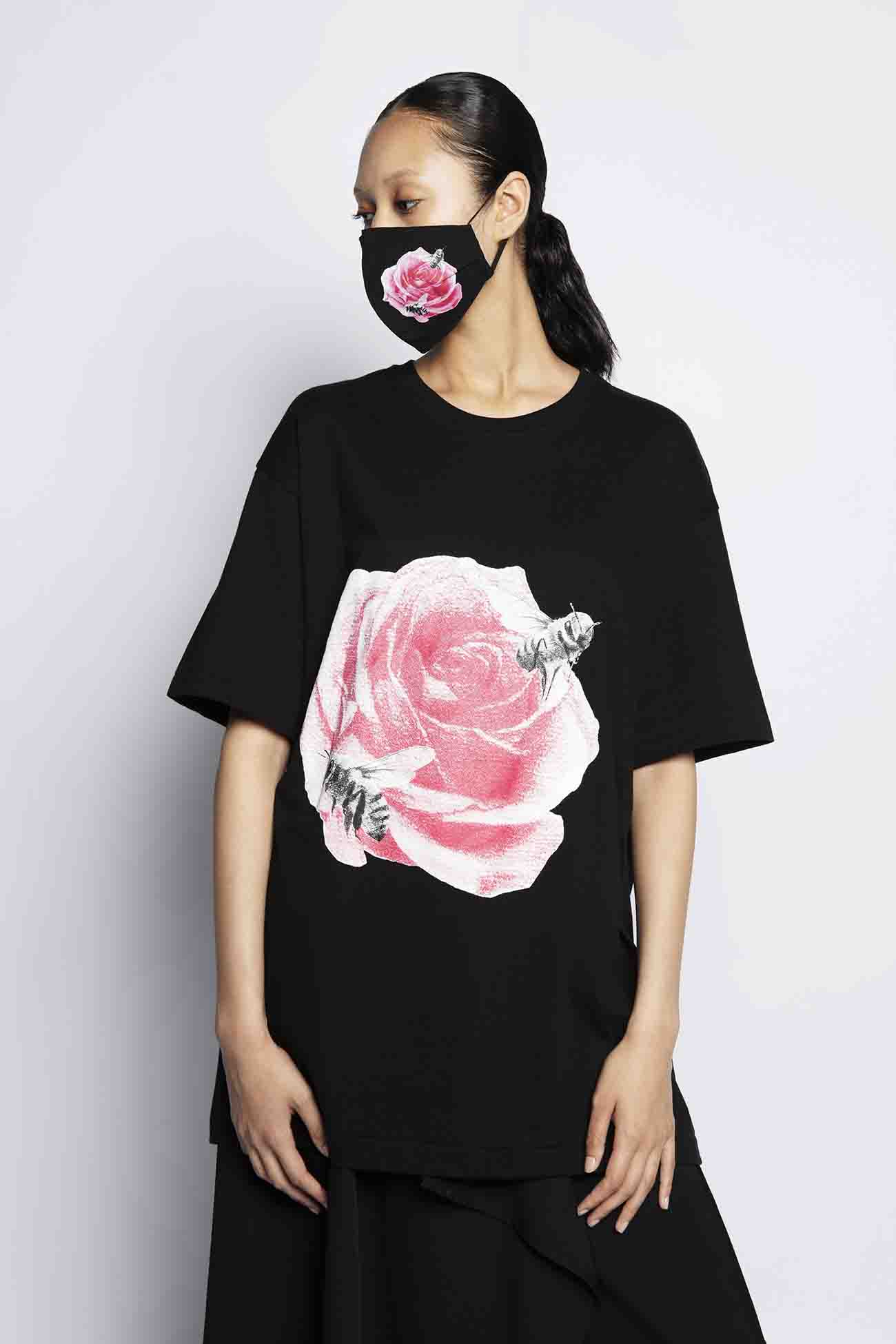 SUZUME ROSE PRINT T-Shirt+MASK