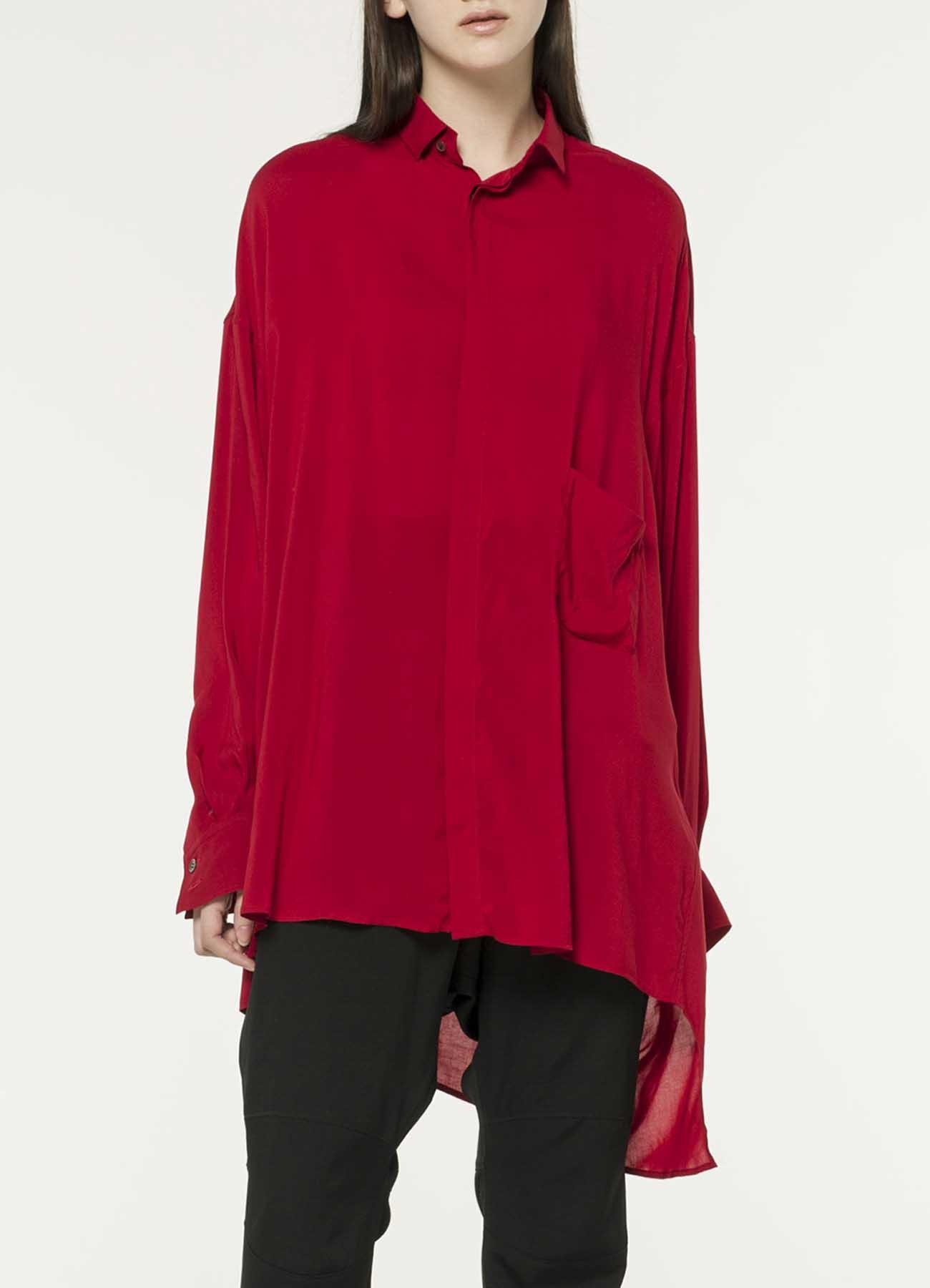人造短纤维上等细平布红 后Tawami衬衫