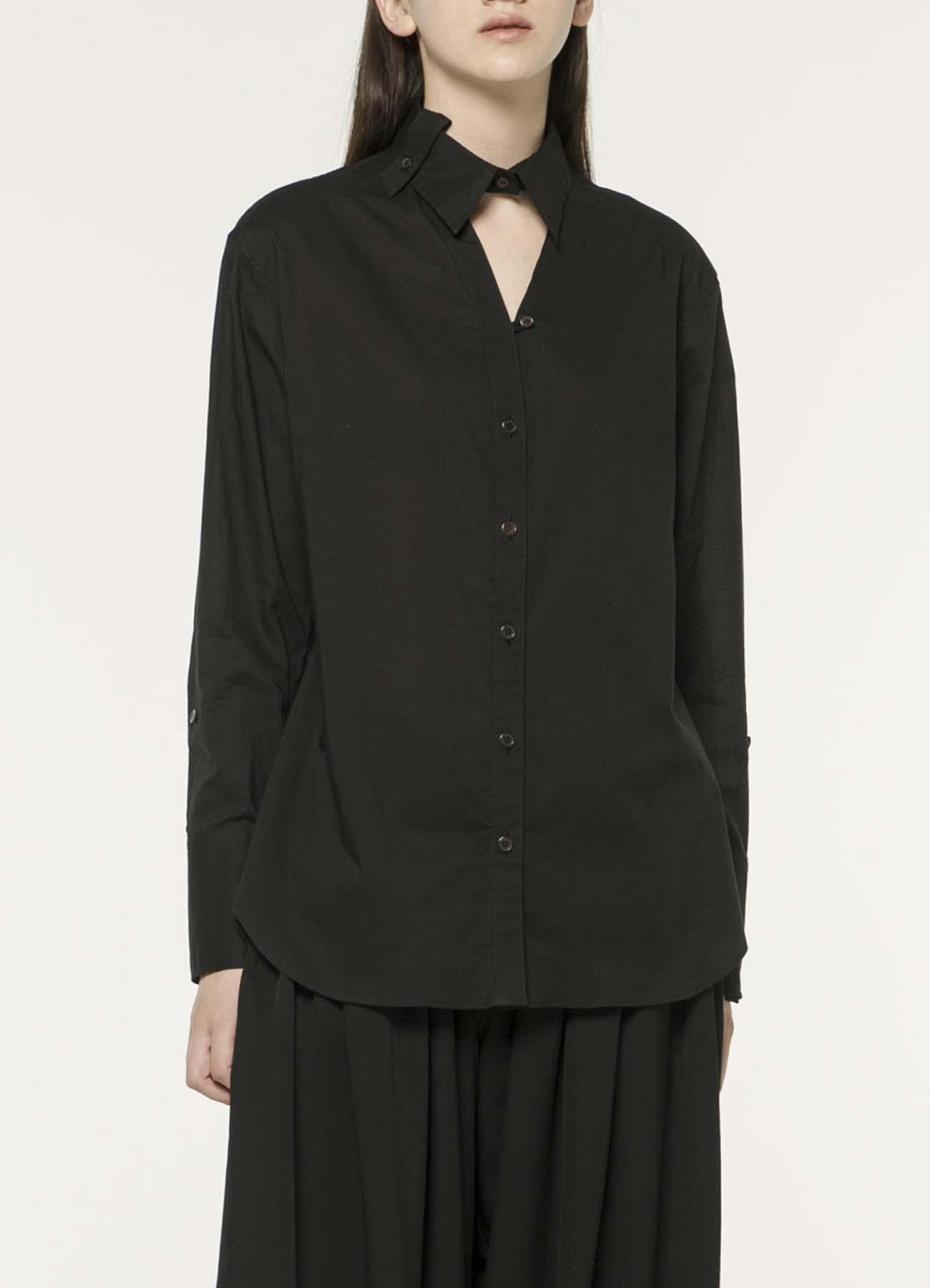 纯棉变形领口设计衬衫