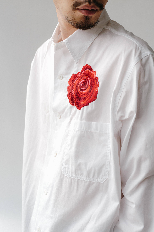 B YOHJI YAMAMOTO 100/2 BROAD ROSE EMBROIDERY SHIRT