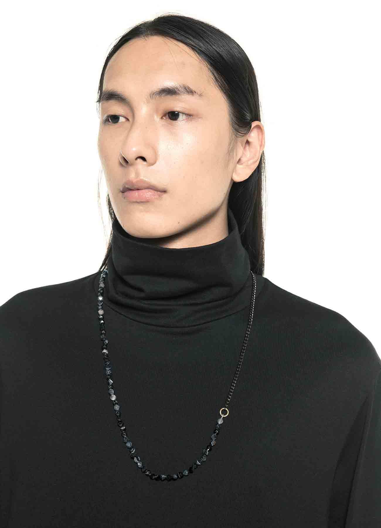 Onyx Brass Chain Necklace Bracelet