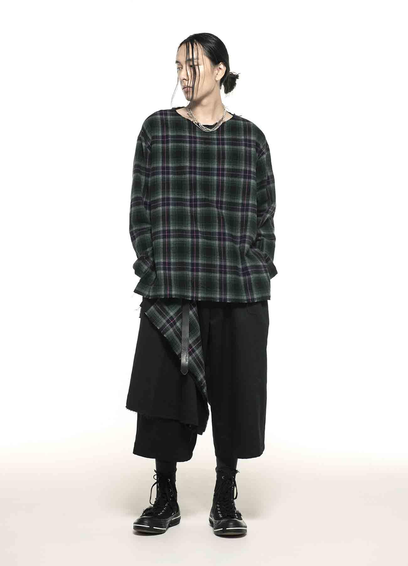 Melange Shaggy Tartan Check Crew Neck Pullover Shirt