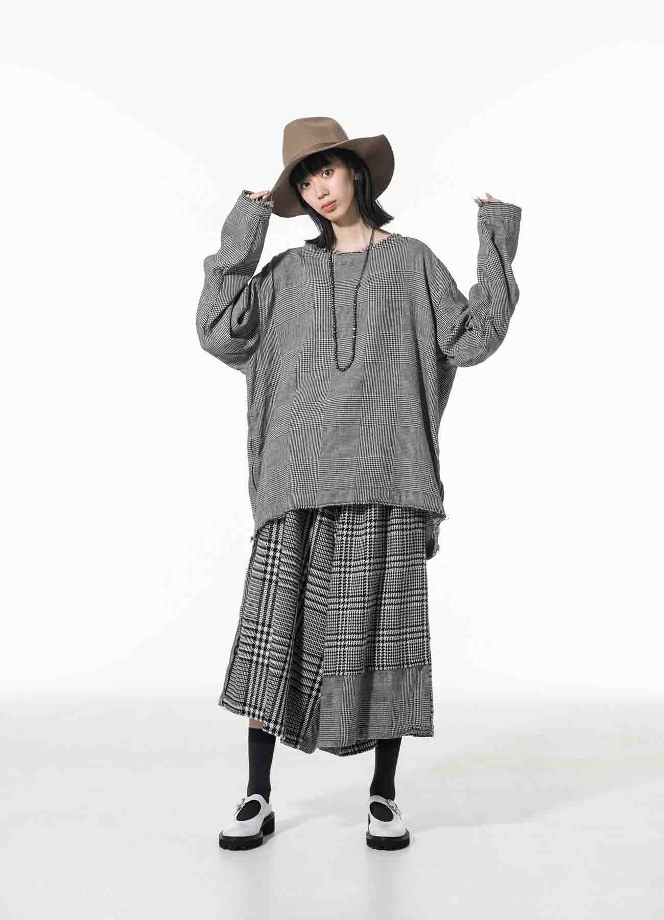 Wool/Linen/Cotton GlenCheck Crew Neck Pullover Shirt
