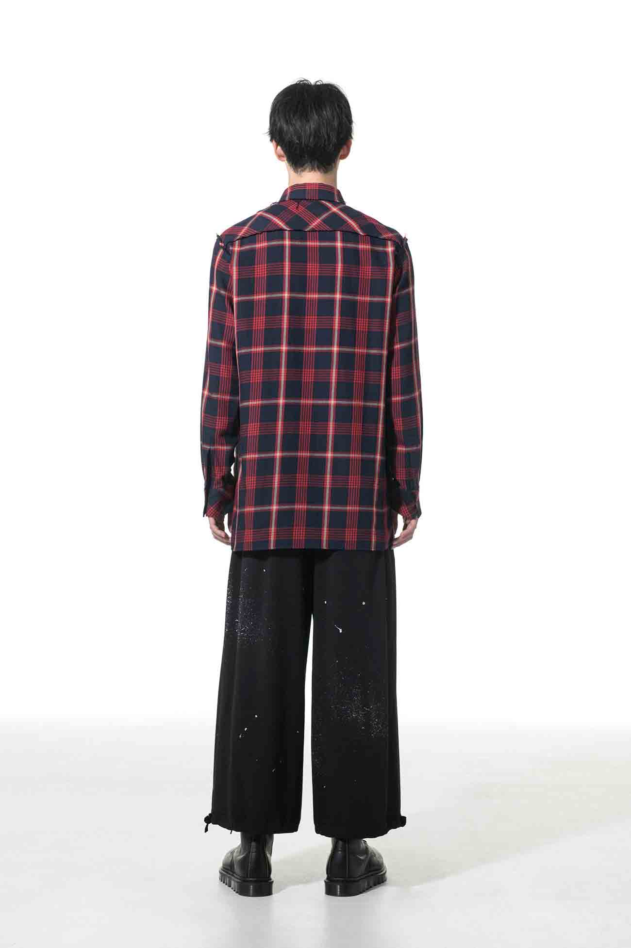 C/Wool Check Cut off Regular Collar Shirt
