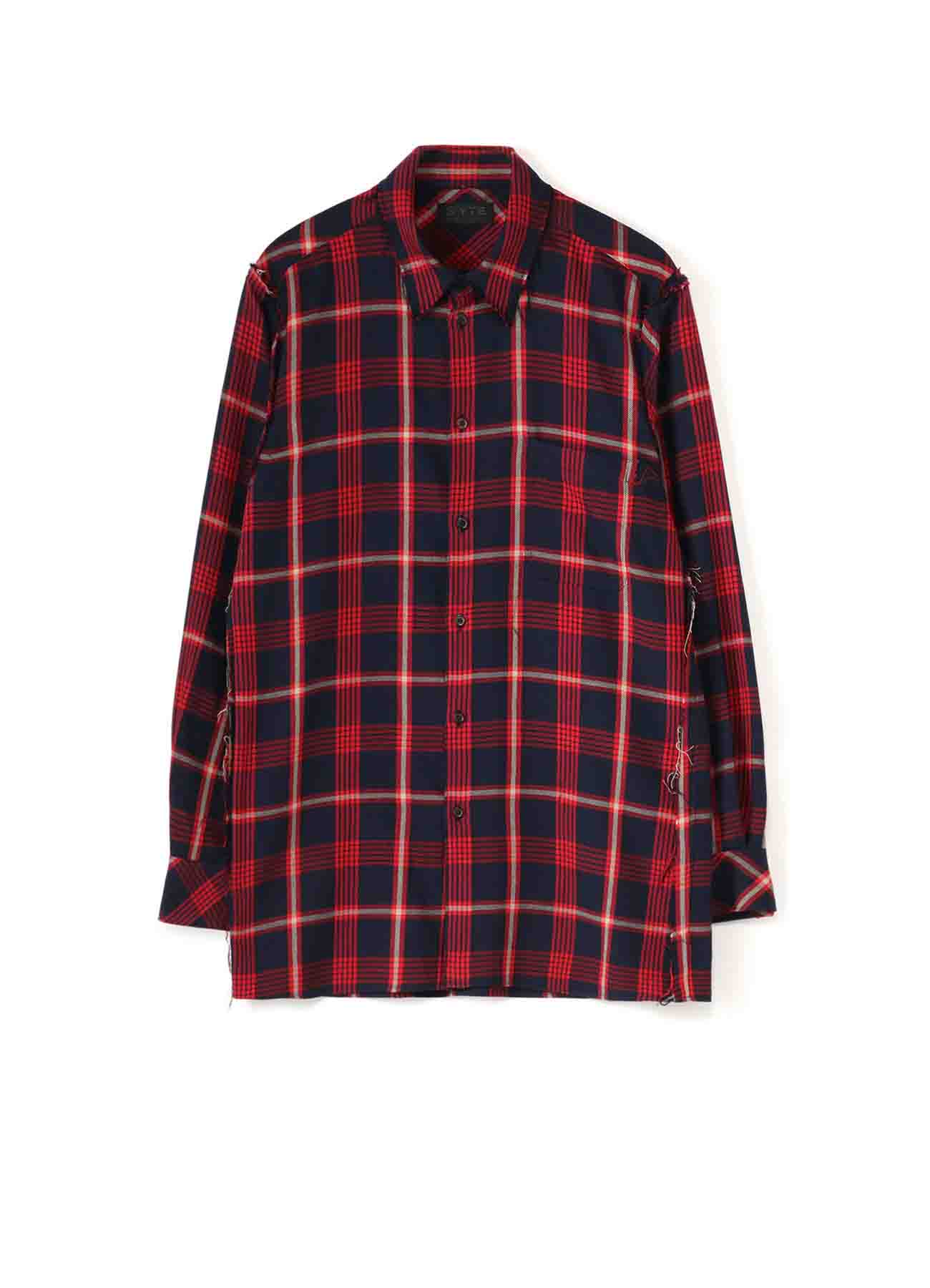 C/Wool Check Cut off Regular Collar Shirt
