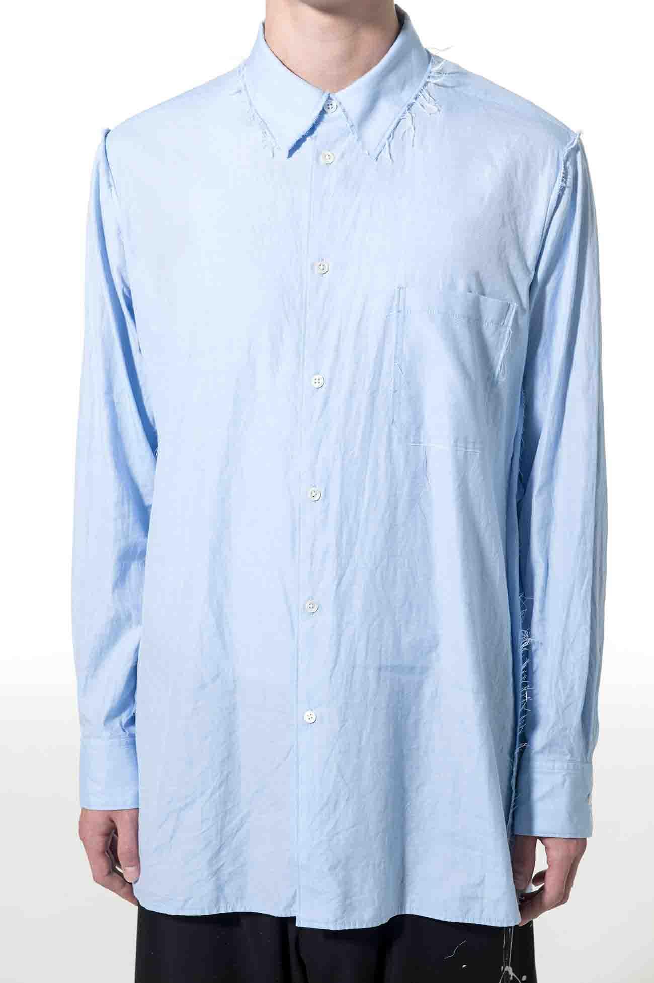 C/Chambray Cut off Regular Collar Shirt