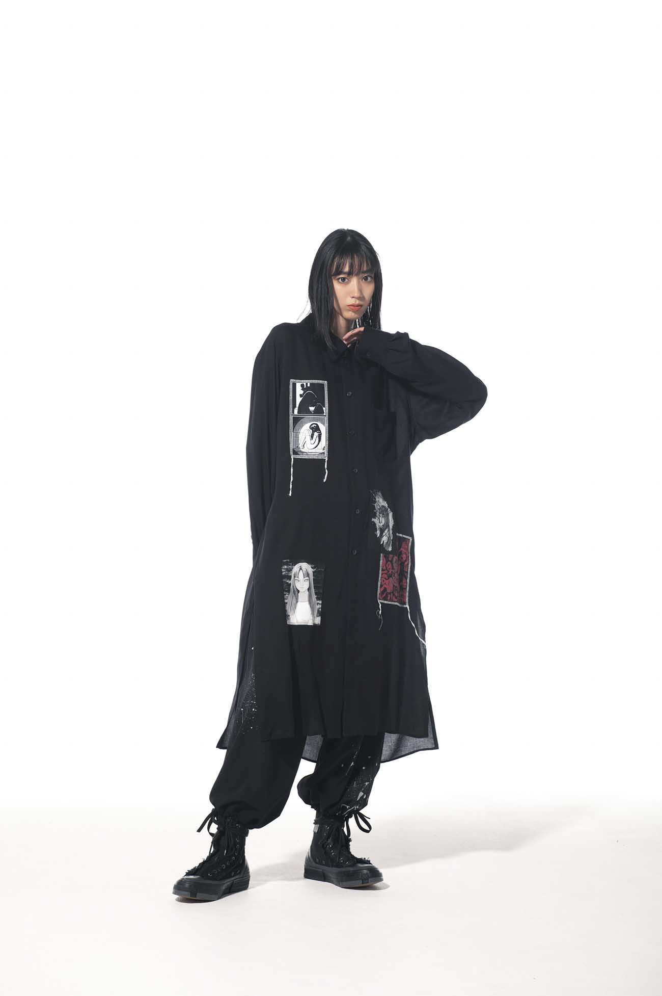 "Tencel Viera JunjiIto ""Tomie"" Omnibus Regular Printed Patch Long Shirt"