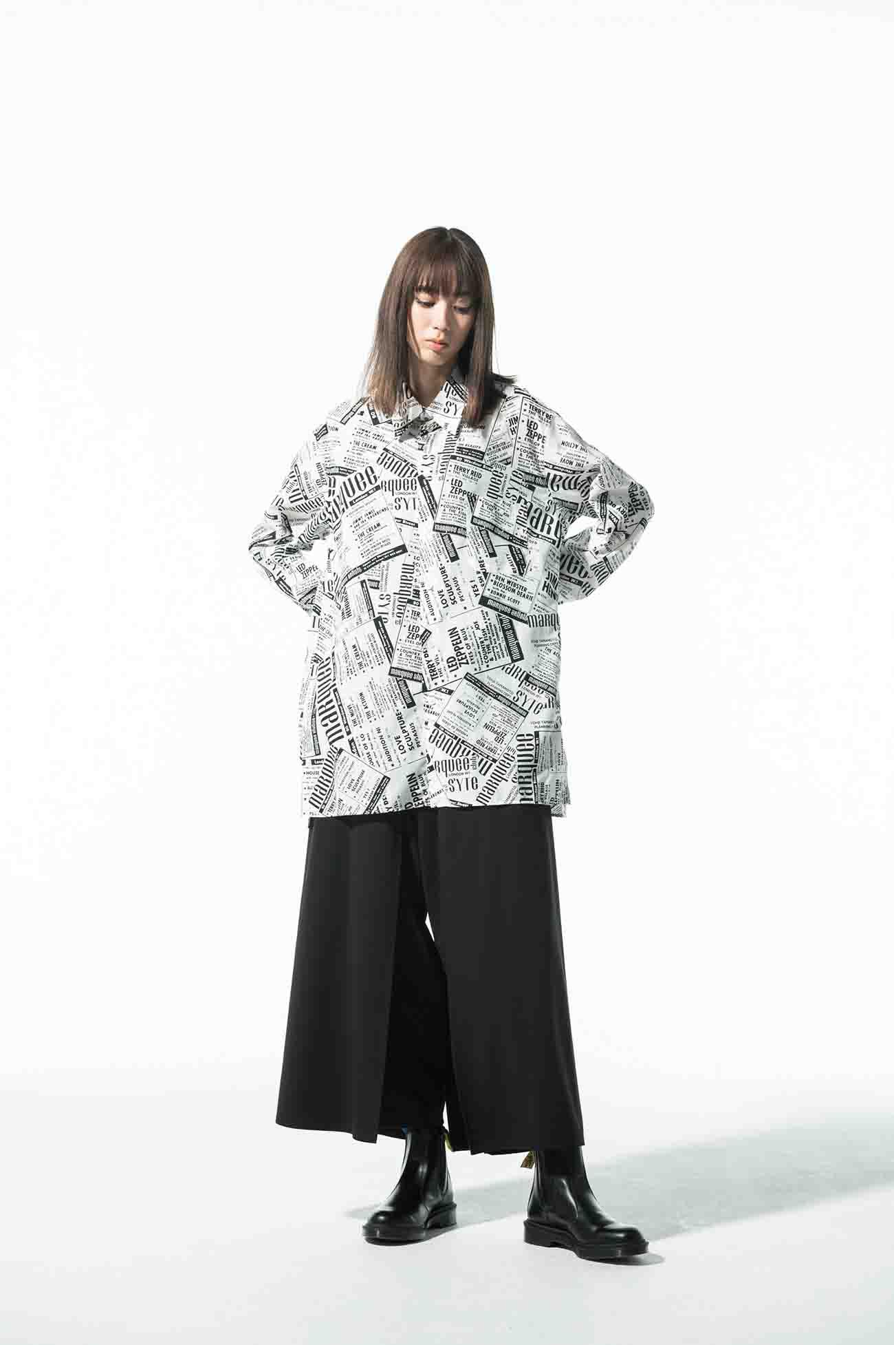 S'YTE × marquee club(TM) Polyester Span Loan Newspaper Regular Shirt