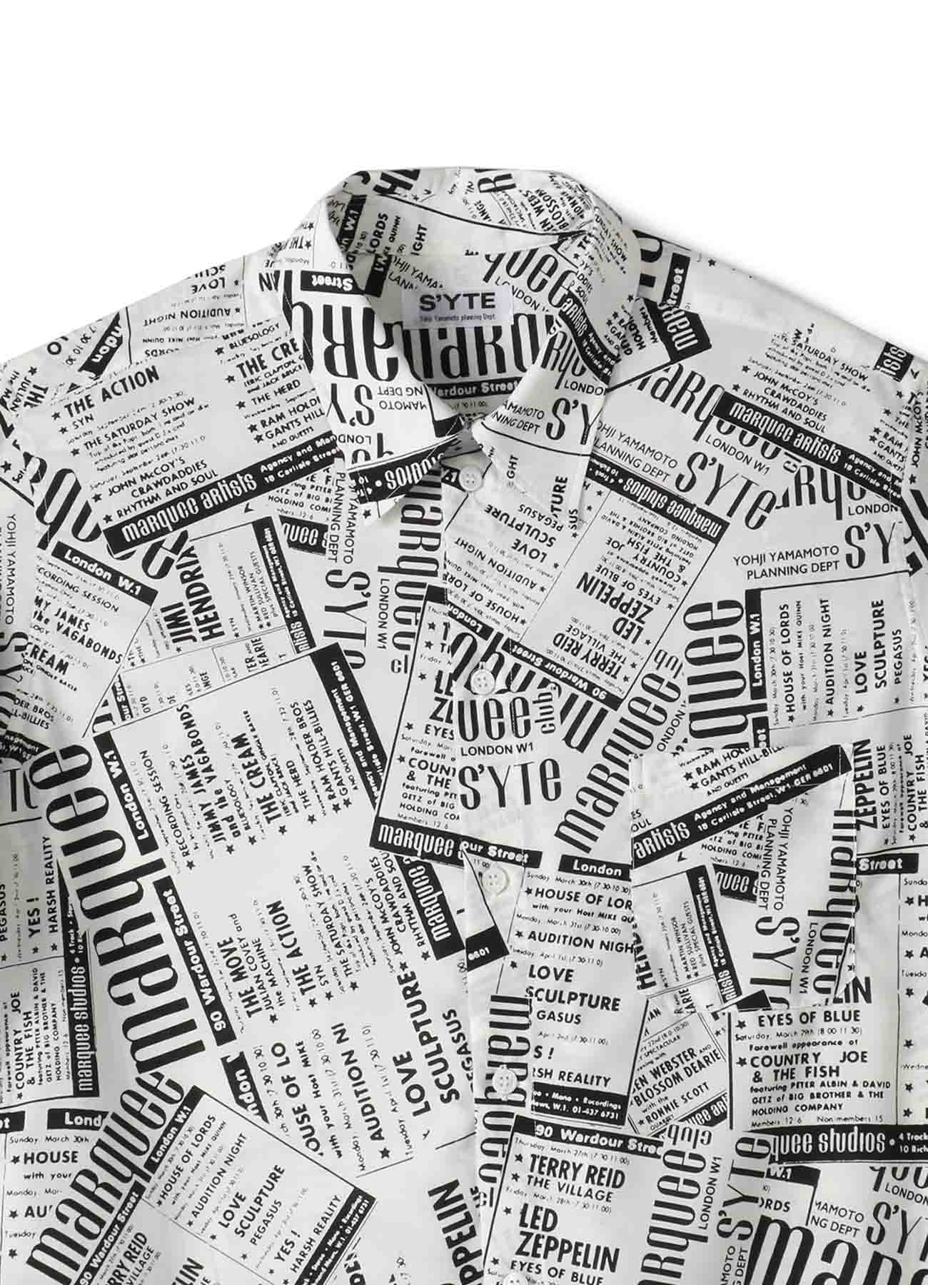S'YTE × marquee club(R) Polyester Span Loan Newspaper Regular Shirt