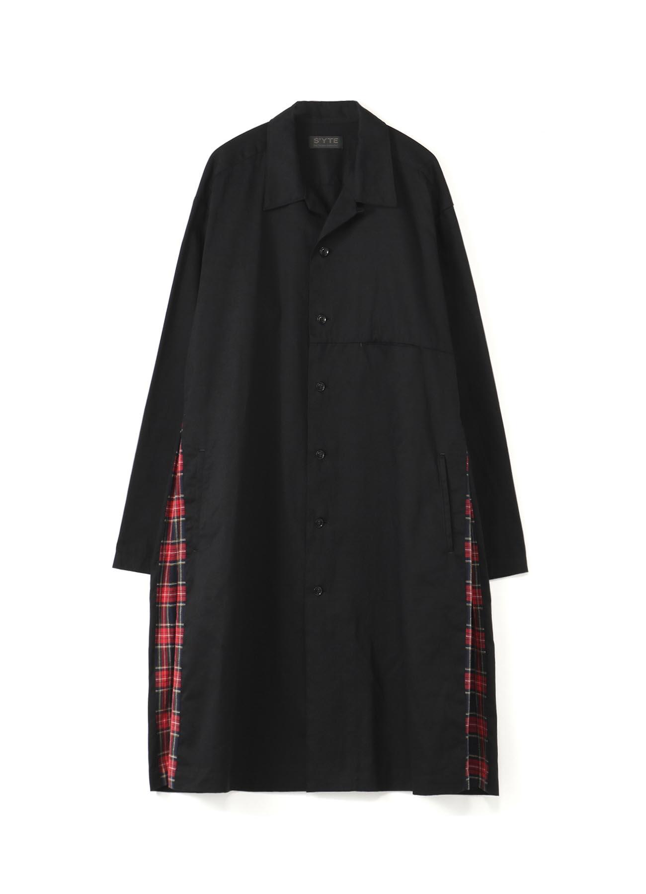 20/Cotton Twill Side Pleated Tartan Check Long Shirt Jacket