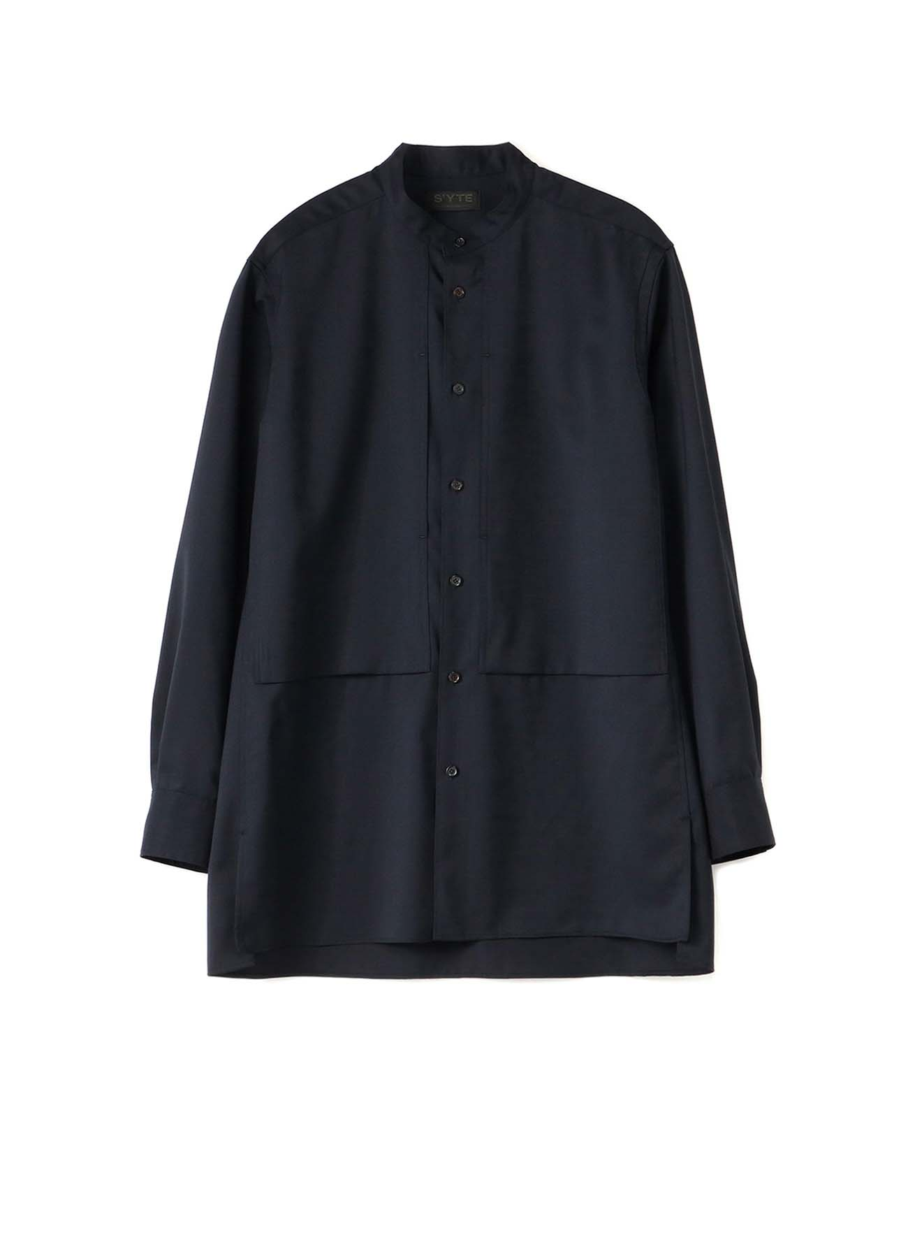 T/W Gabardine Stand Collar Center Slash Pocket Shirt