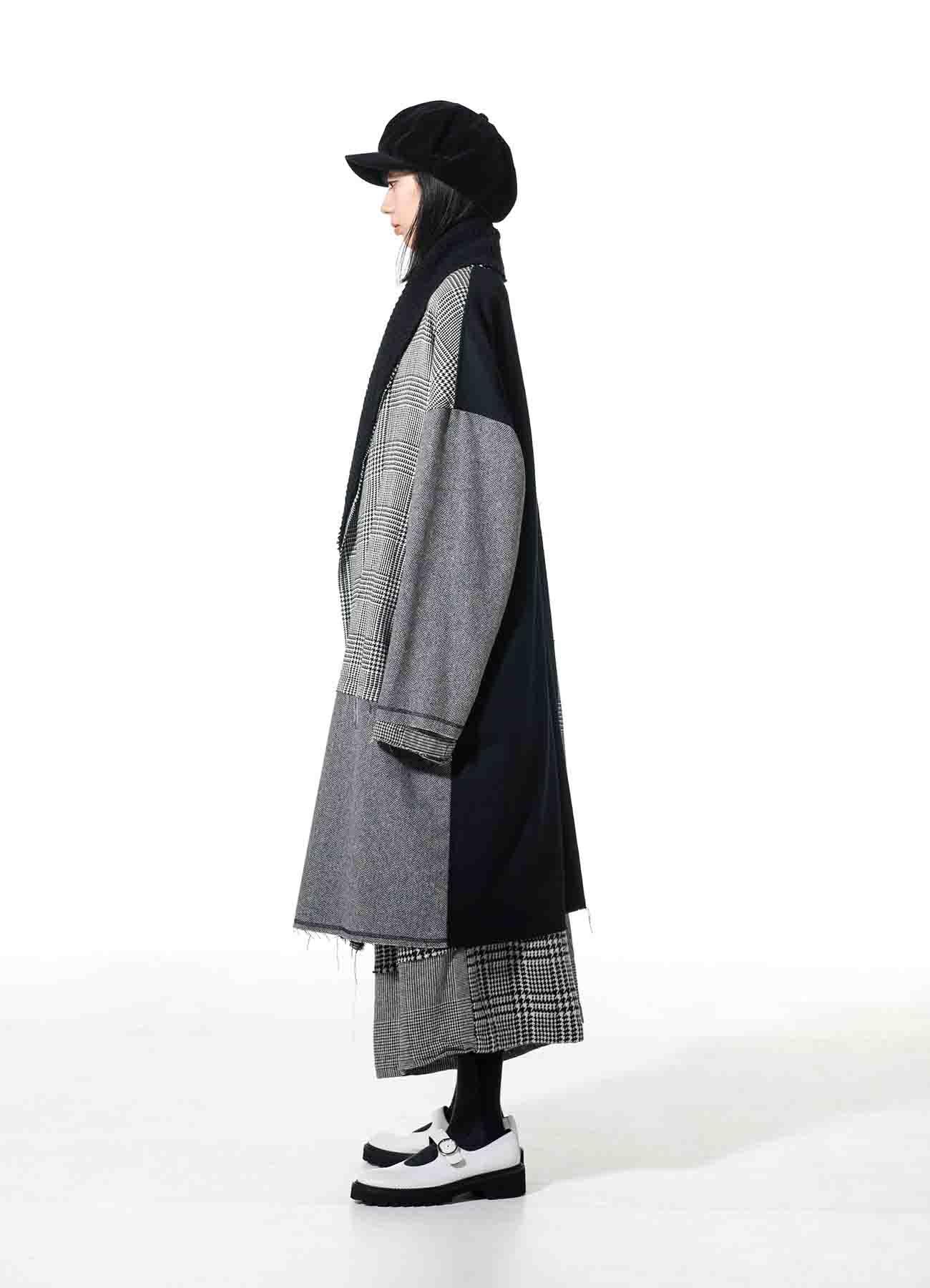 Crazy tweed/Mall knit Shawl Collar Big Gown Coat