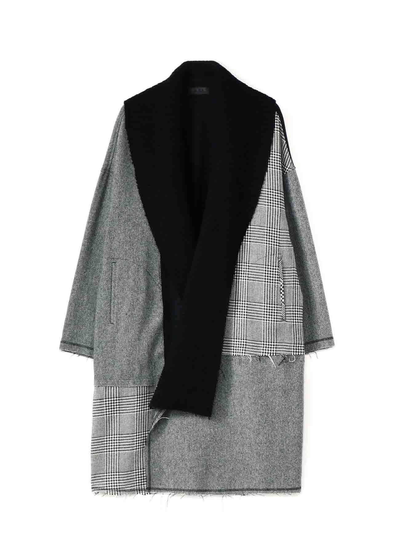Crazy tweed/Mall knit Shawl Collar Big Gown Coat