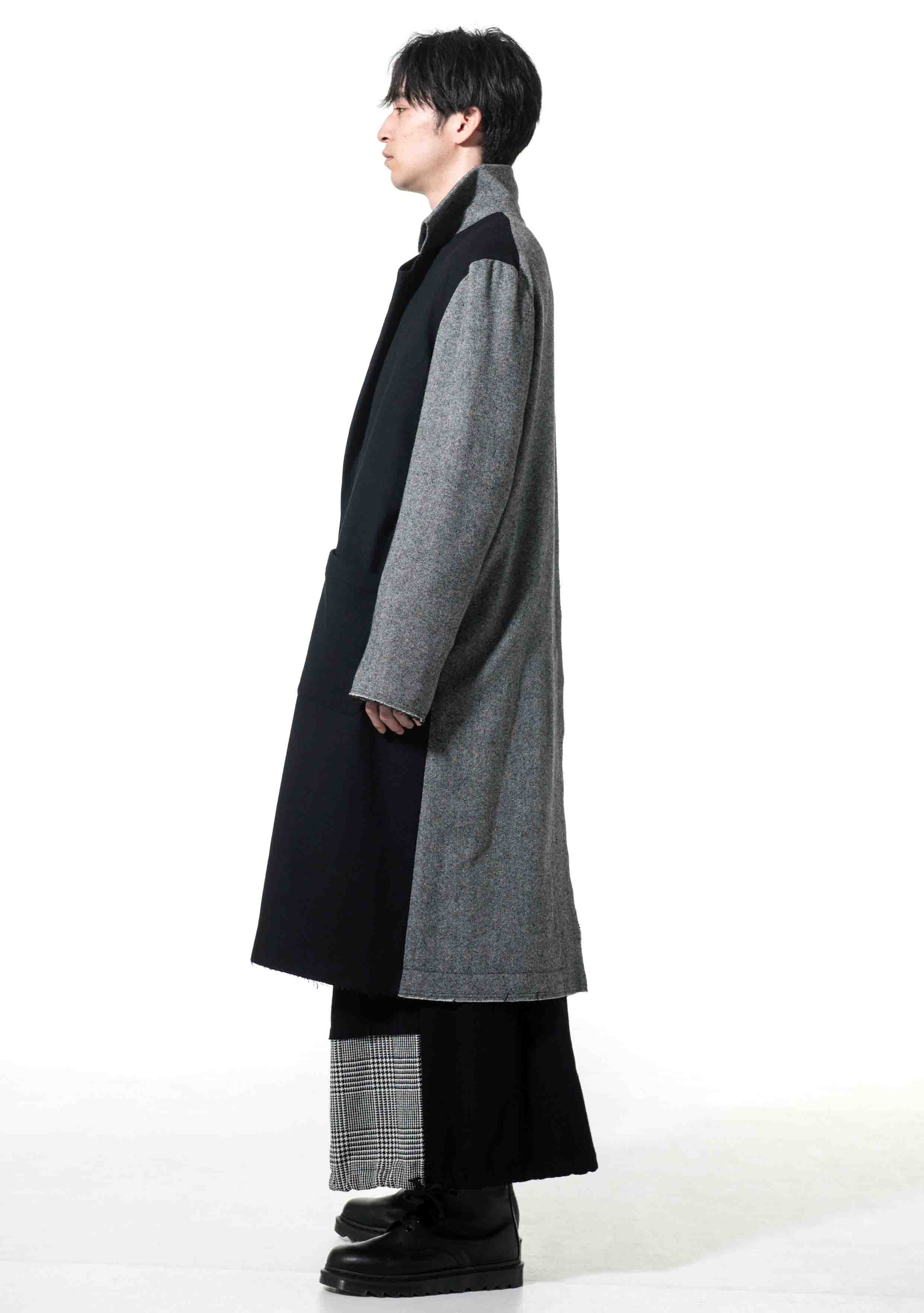 Etermin Tweed Panel Semi Double Cuts Collar Tailored Coat