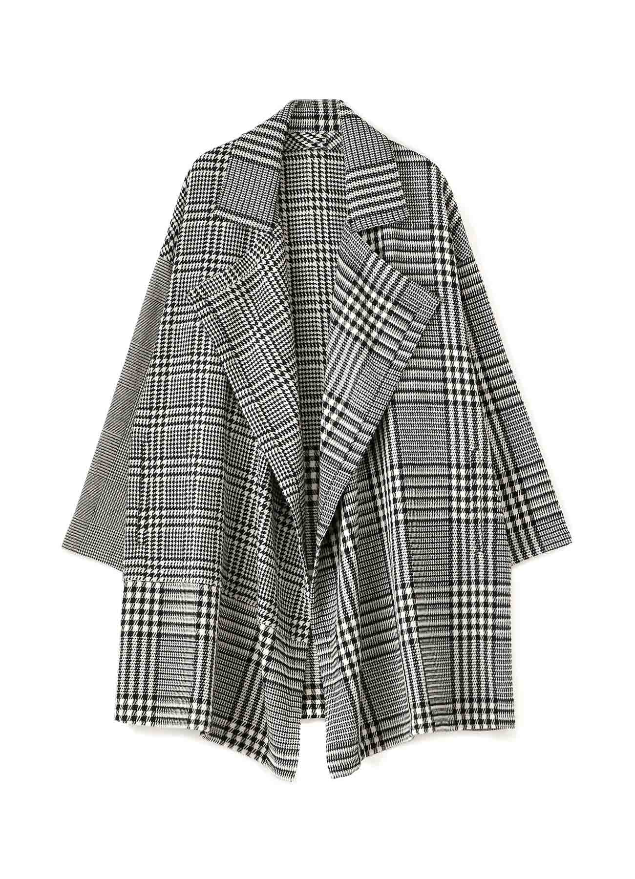 Glen Check Tweed Frame Double Collar Drape Coat