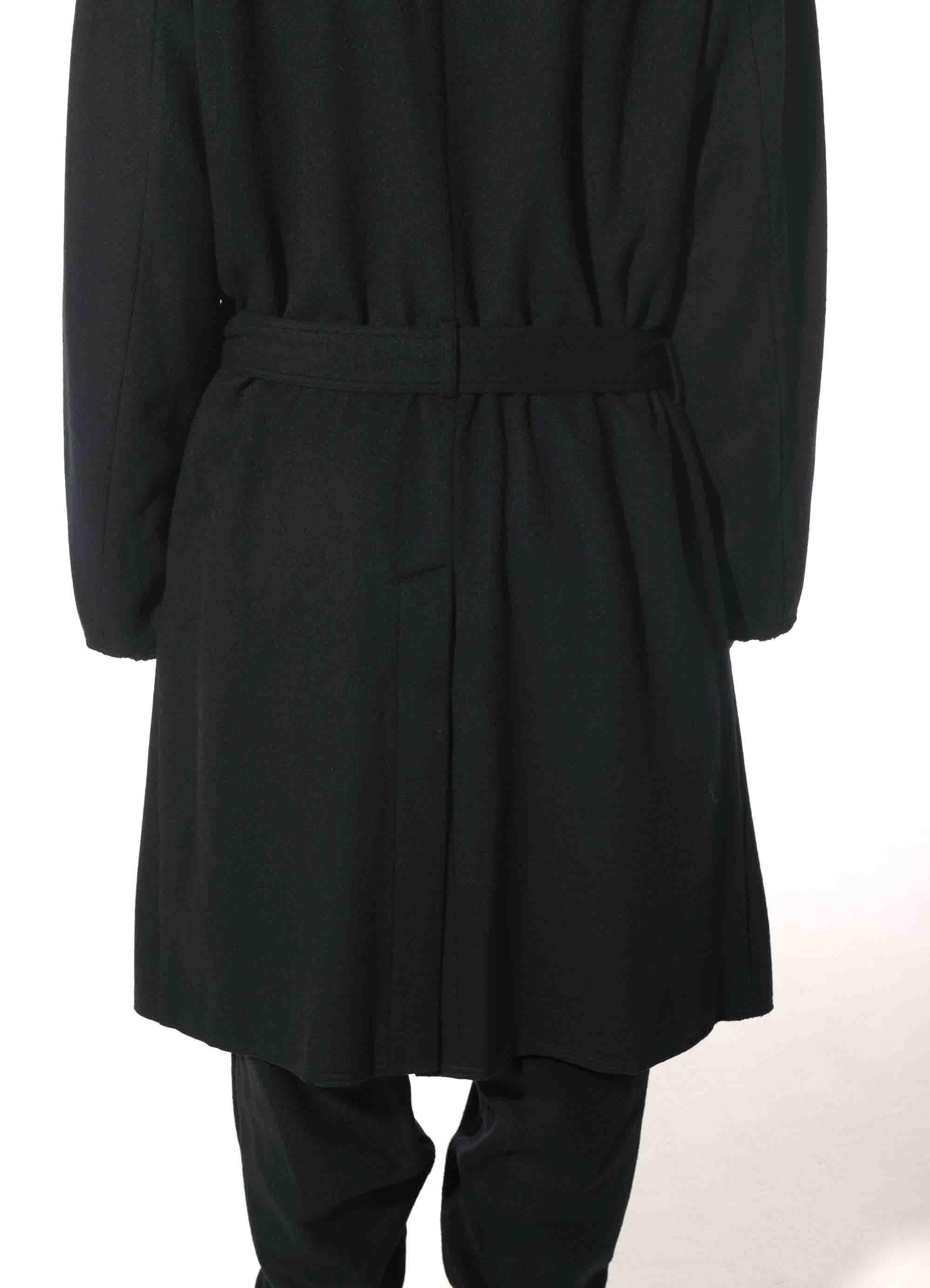 Wool Nylon Beaver Hood Belt Coat