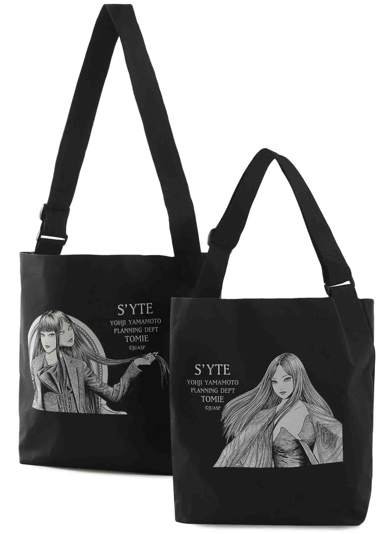 """Tomie"" Wearing Yohji Yamamoto Double-Sided Print Pe/ Shoulder Bag"