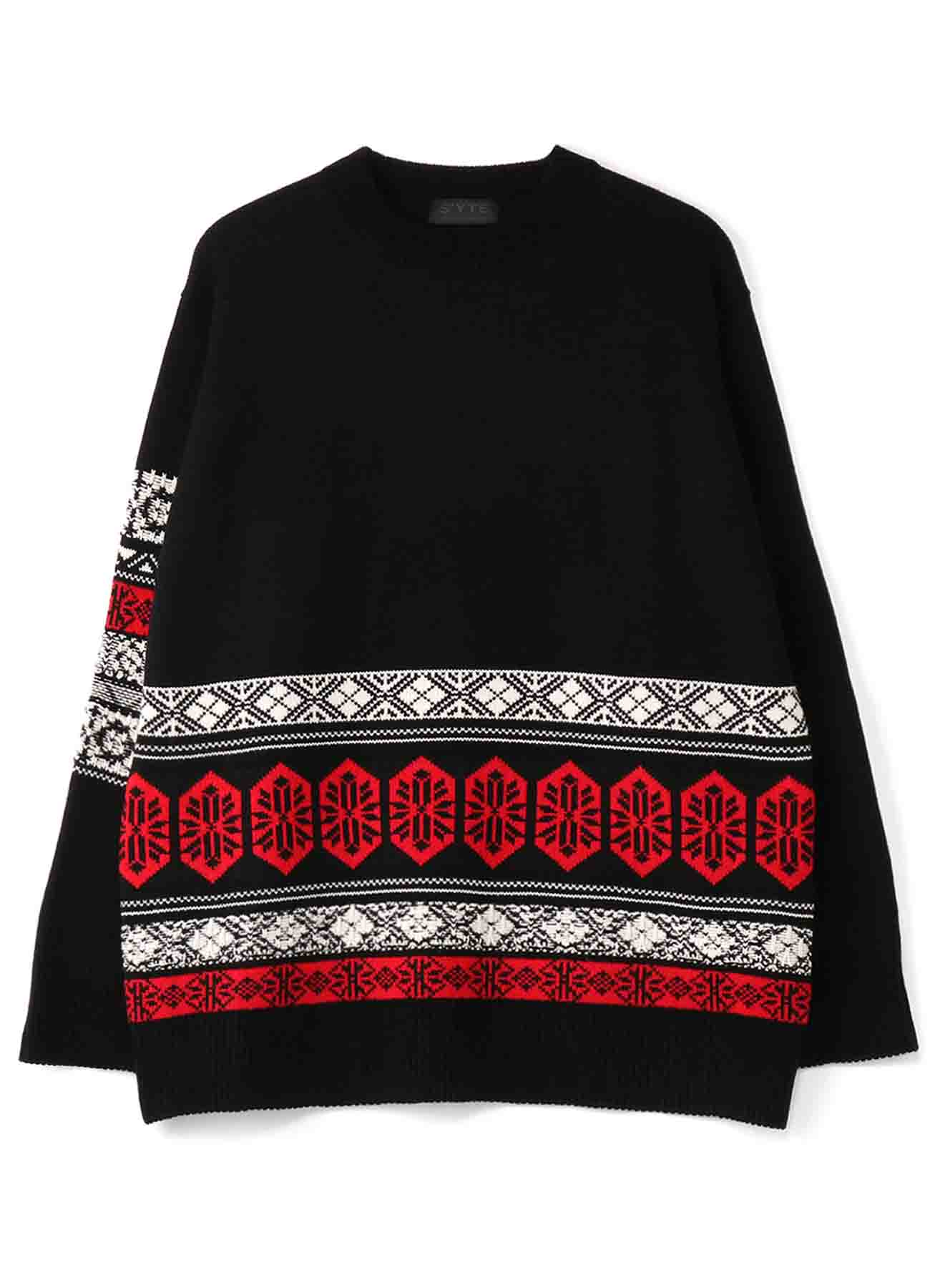 5G Bulky Wool Nordic Crew Neck Pullover