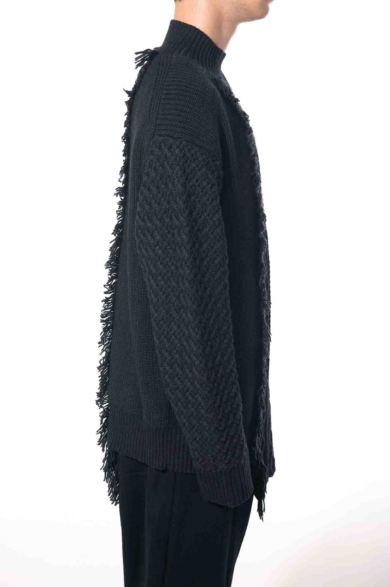 Basolan Silk Wool Alan Fringe High Neck Pullover