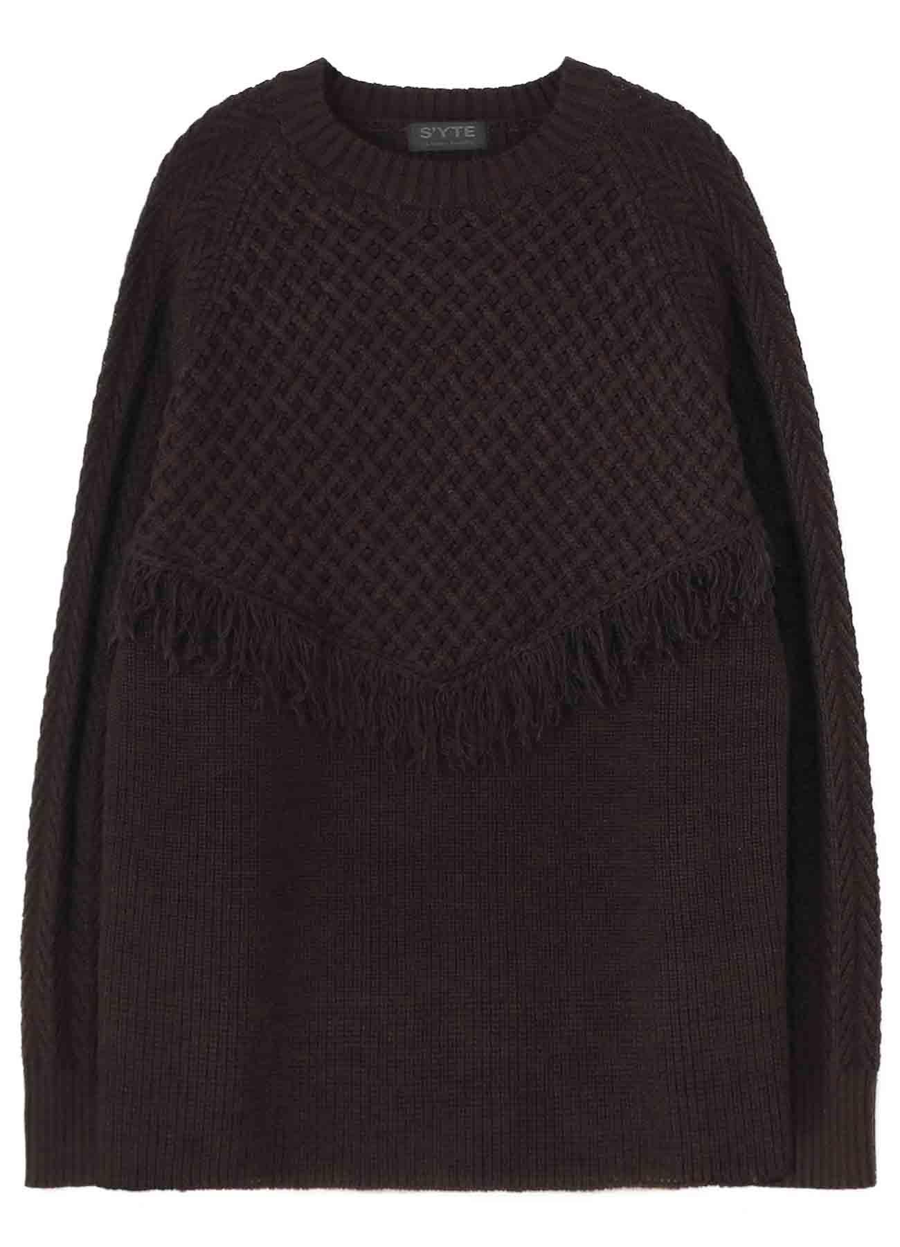 Wool Aran V Fringe Crewneck Pullover