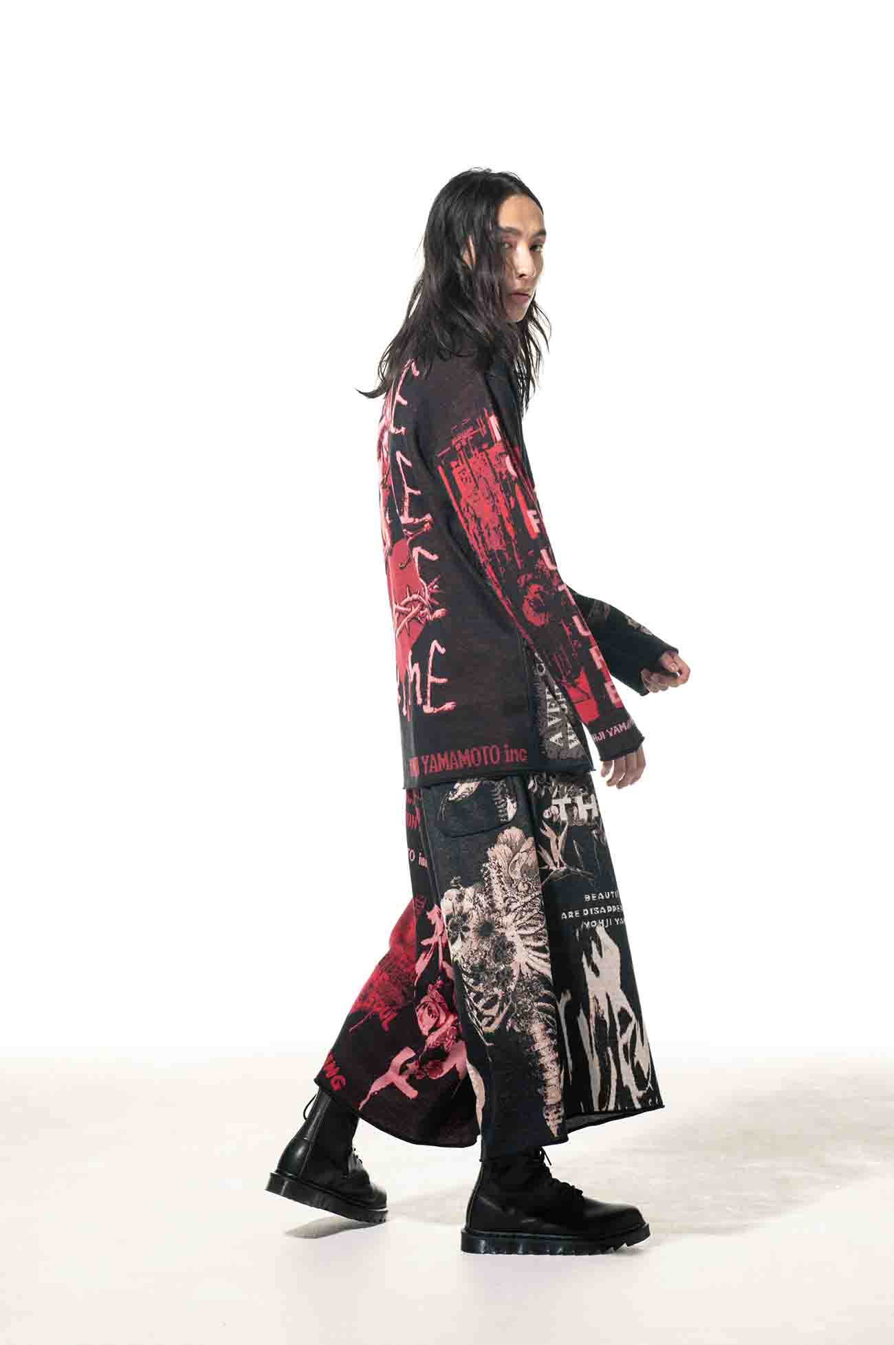 Hameauze Jacquard Khaki/Red Graphic Omnibus Culottes Pants