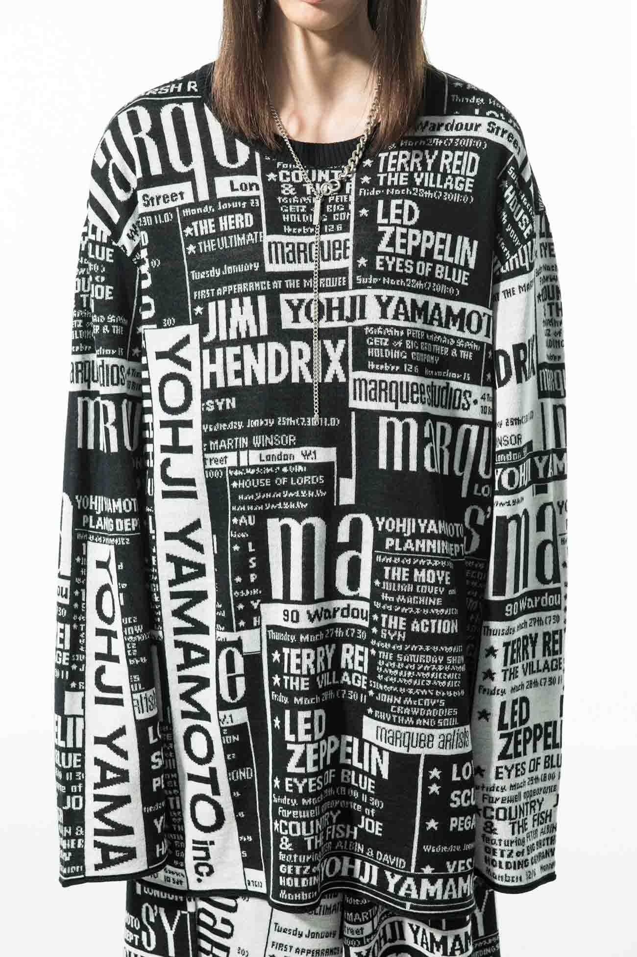 S'YTE × marquee club(TM) Newspaper Collage Hameauze Jacquard Crew Raglan Sleeve Long Knit