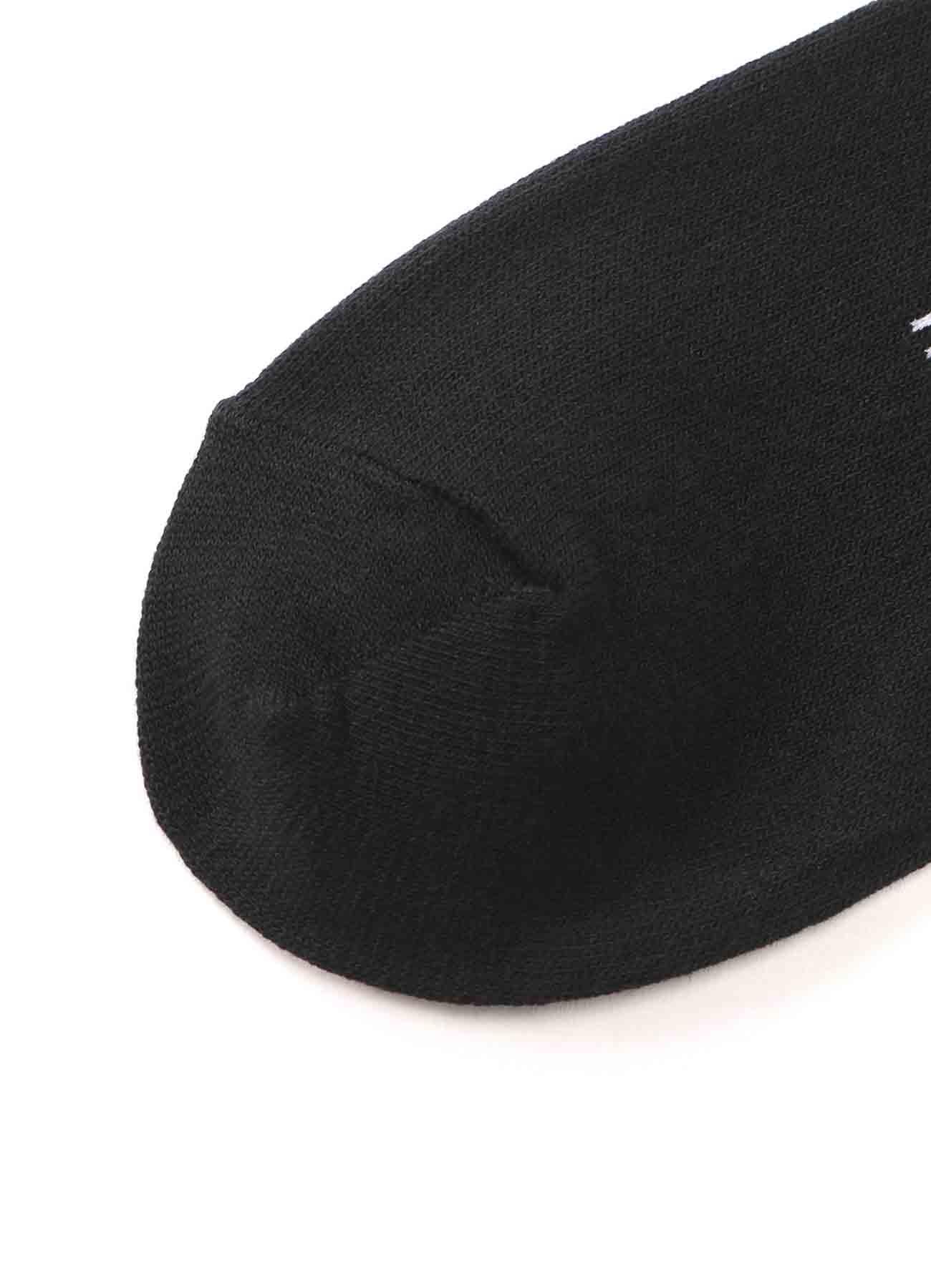 Cotton Plain Stitch「Black Is Modest」Line Socks