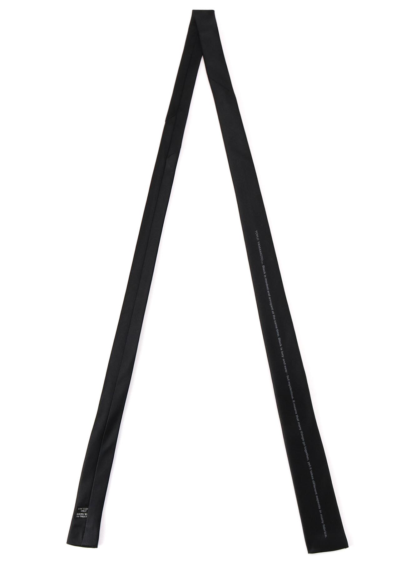 Silk Satin「Black Is Modest」Message Narrow Square Tie