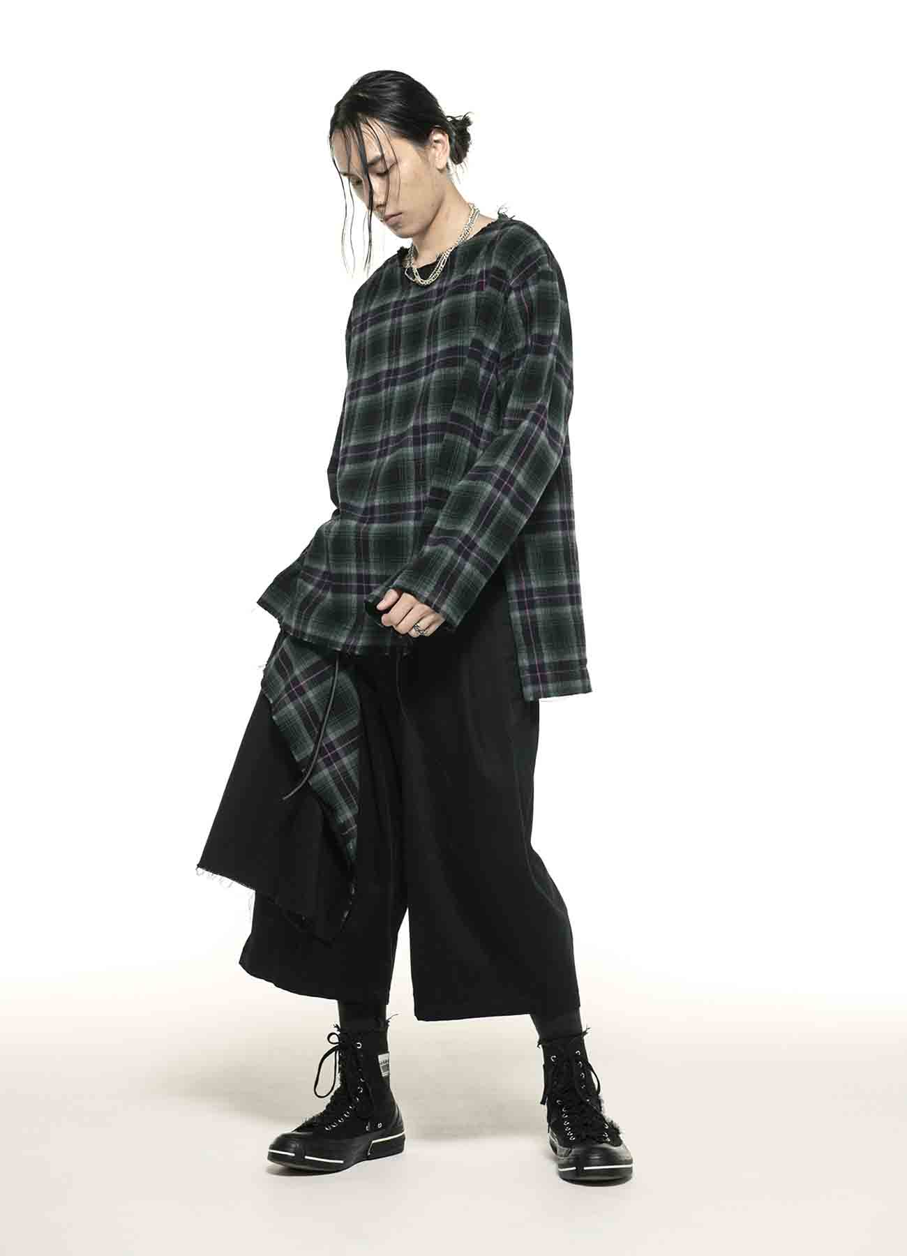 20/Cotton Twill One Tack 6part Length Side Shaggy Tartan Check Wrap Pants