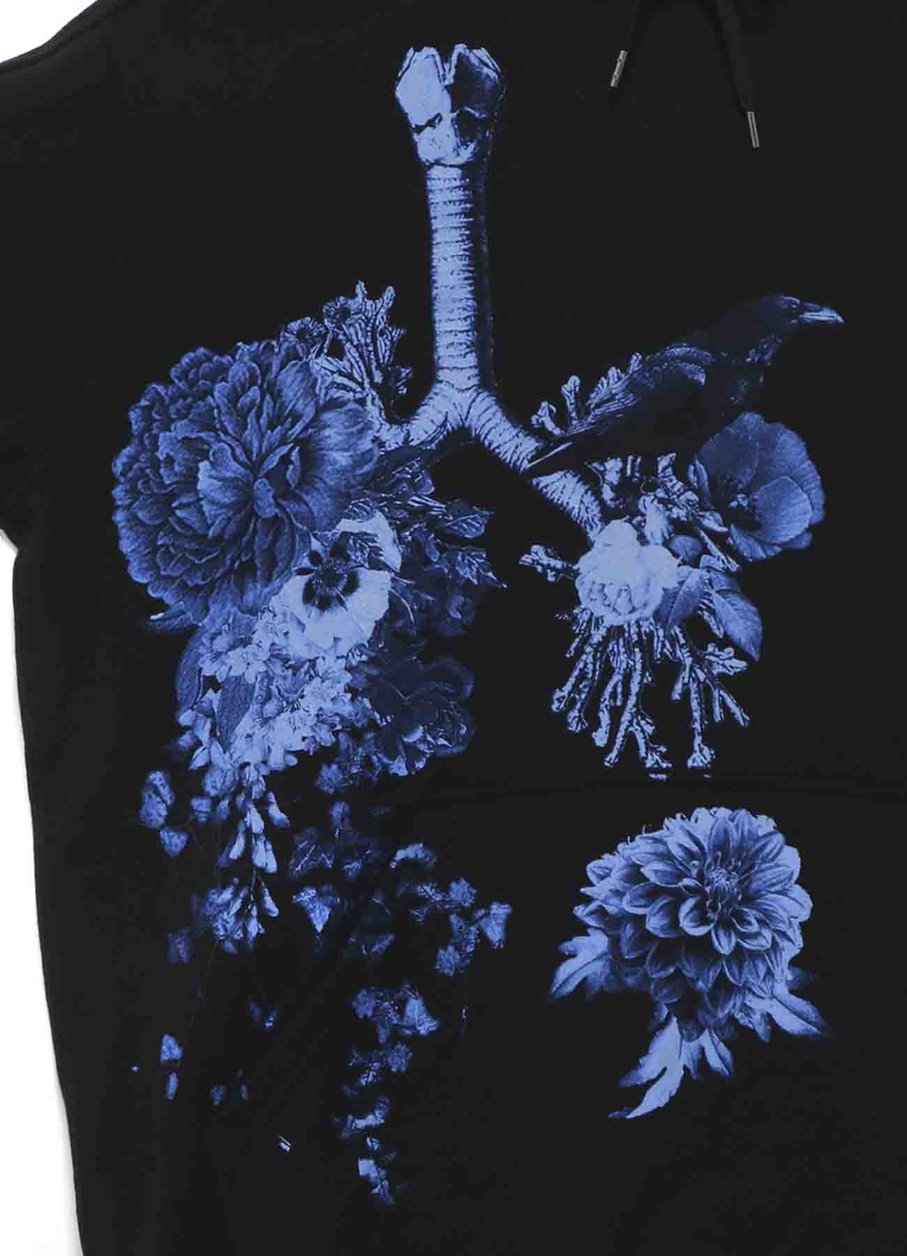 French Terry Stitch Work Crow on Lungs and Flowers Hoodie