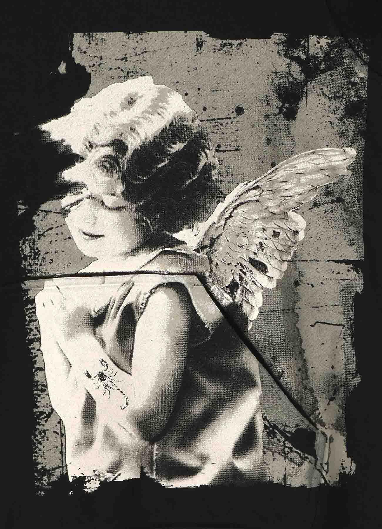 French Terry Stitch Work Angel Poem Hoodie