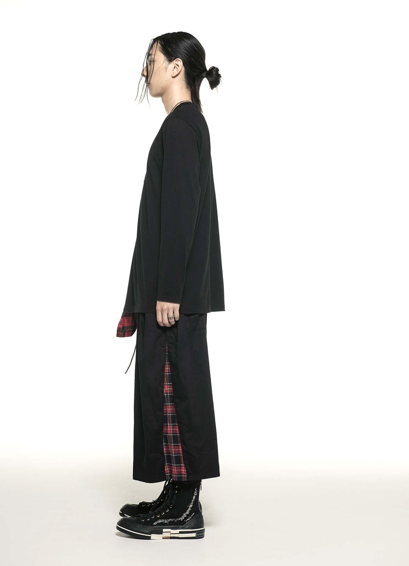 40/2 Cotton Jersey Tartan Check Layered Asymmetry Drape T-shirt