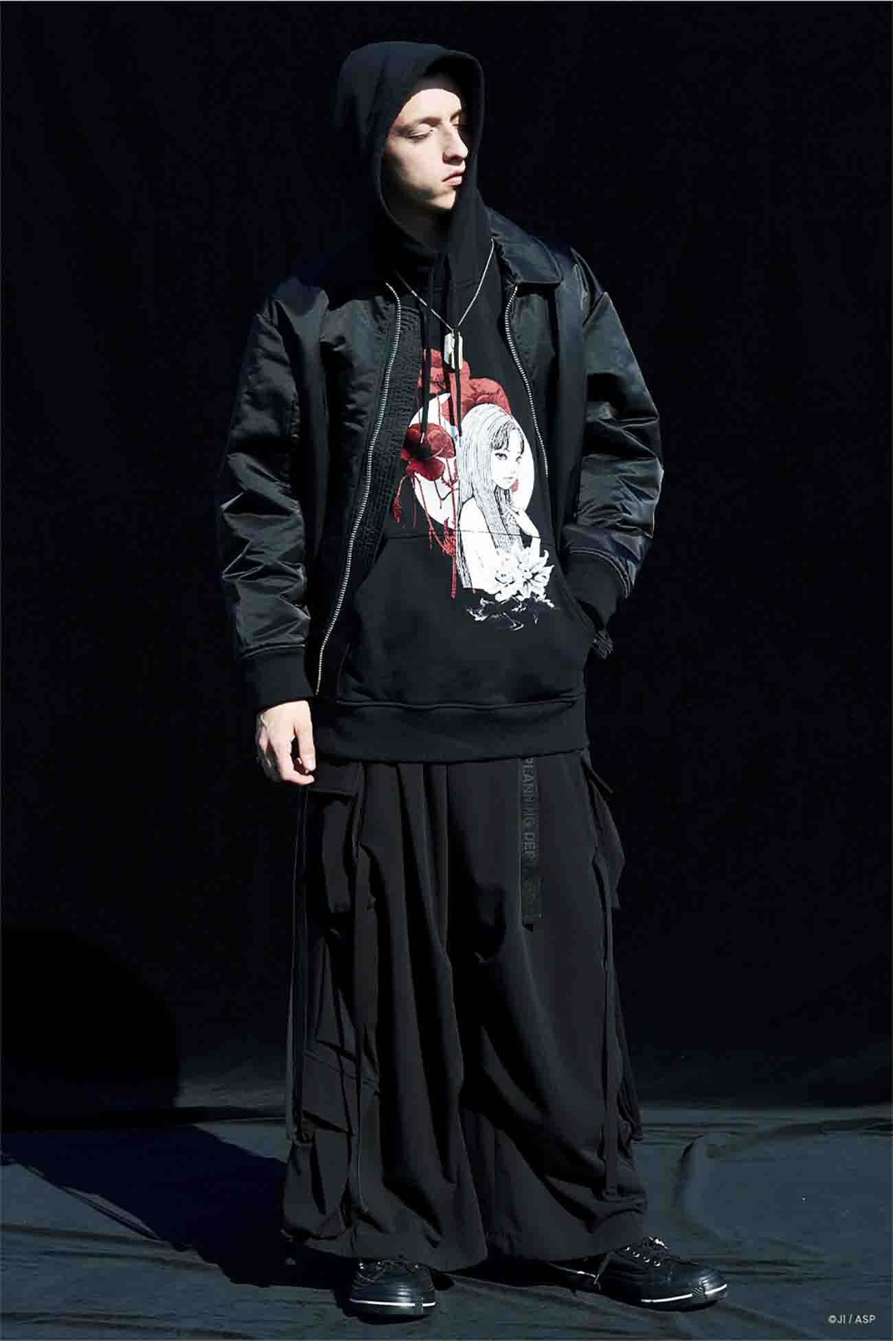 "French Terry Stitch Work ""Tomie""、 Blood and Poppy Flowers Hoodie"