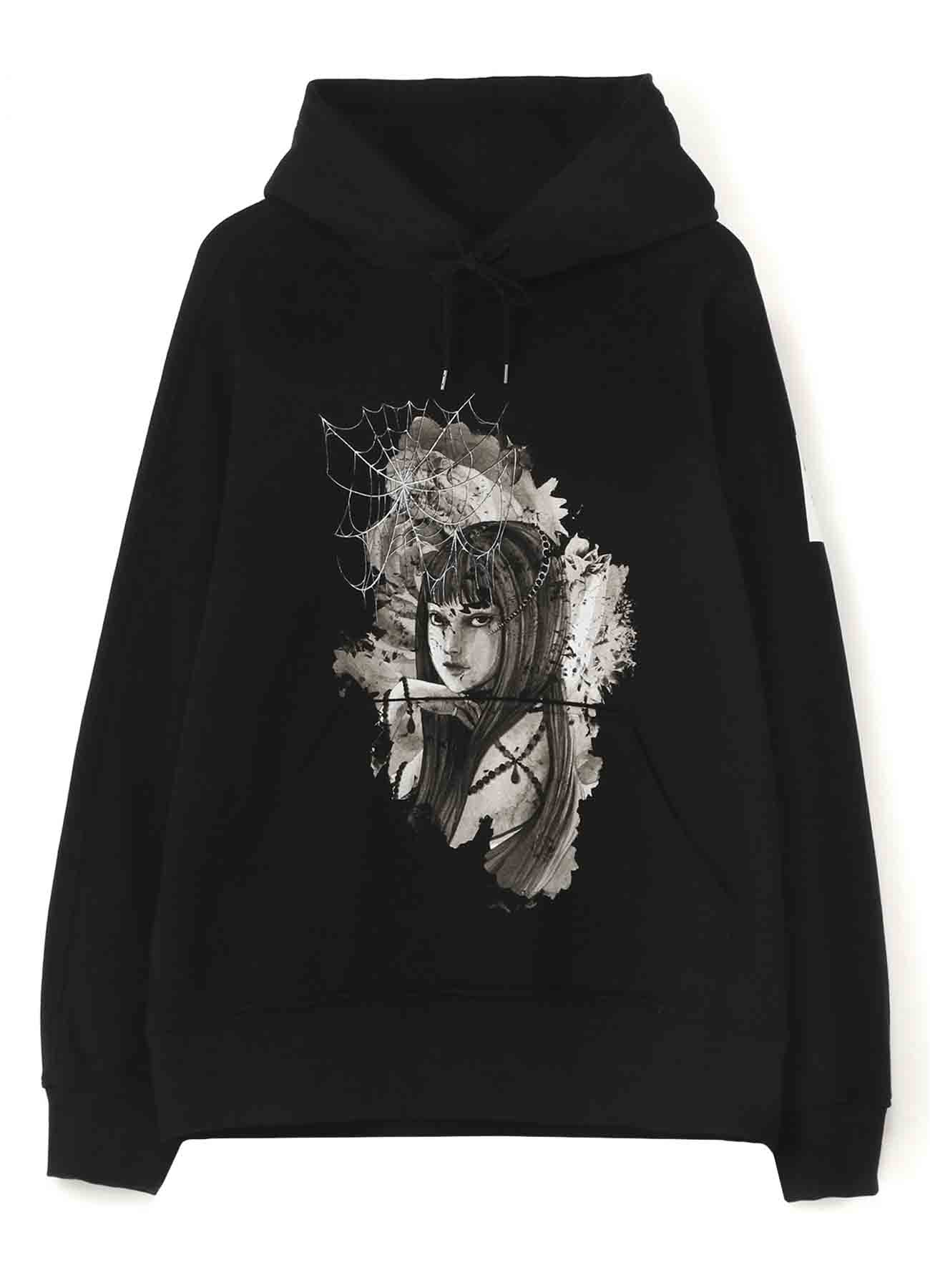 "French Terry Stitch Work ""Tomie""、 Flowers and Spider Web Hoodie"