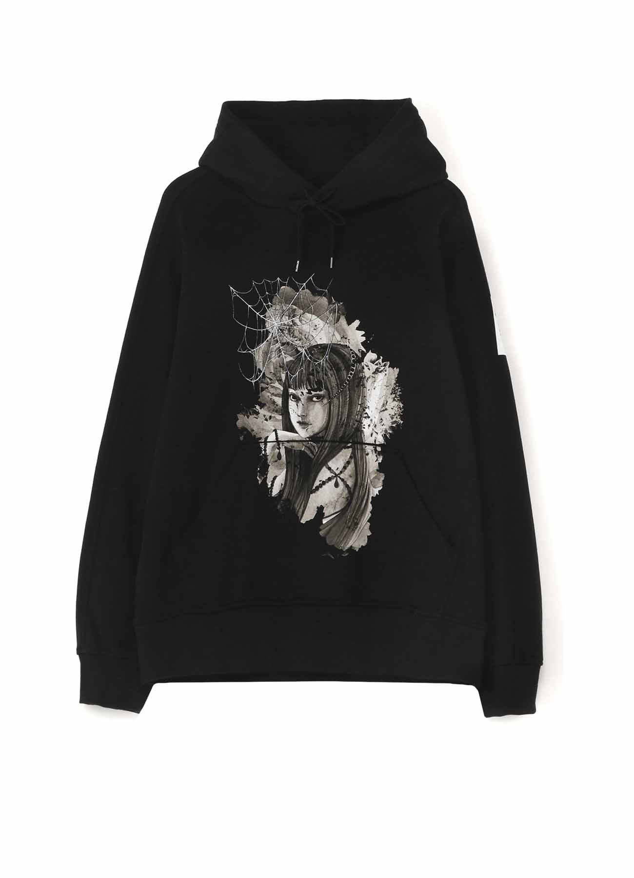 French Terry Stitch Work 「Tomie」 Flowers and Spider Web Hoodie