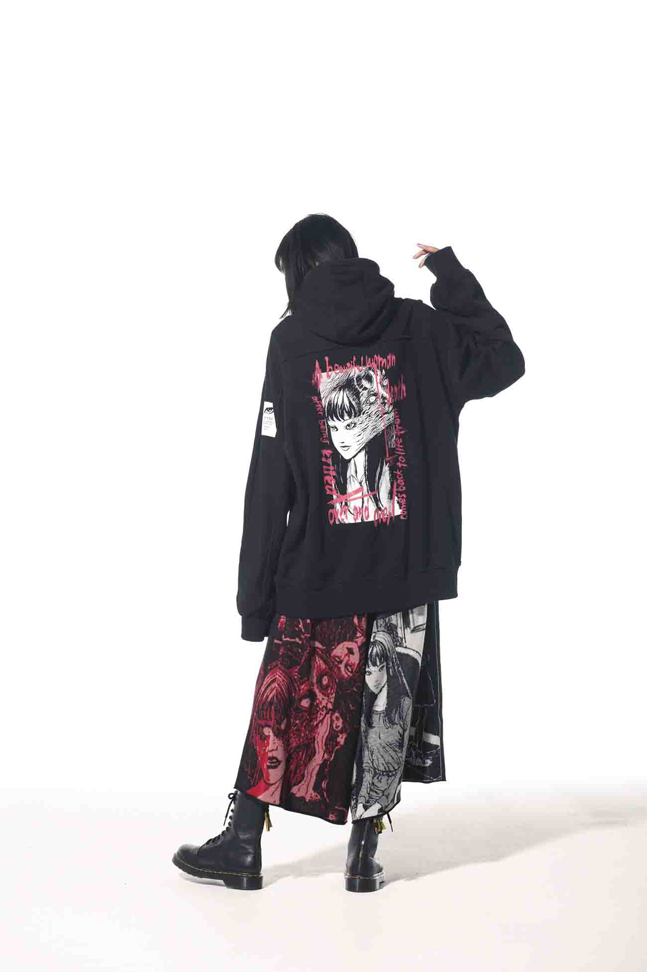 "French Terry Stitch Work ""Tomie"" Zipper Hoodie"