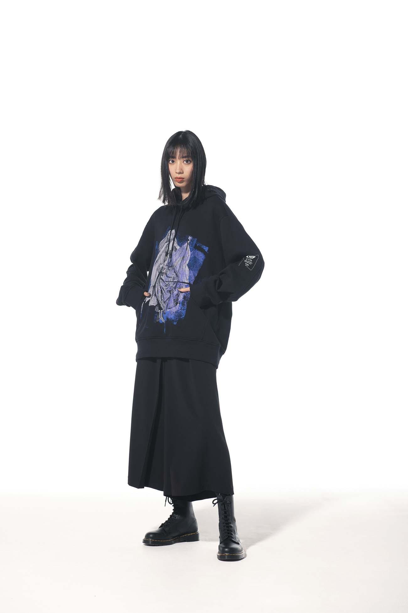 "French Terry Stitch Work ""Tomie"" Wearing Yohji Yamamoto Dress Tulle Hoodie"