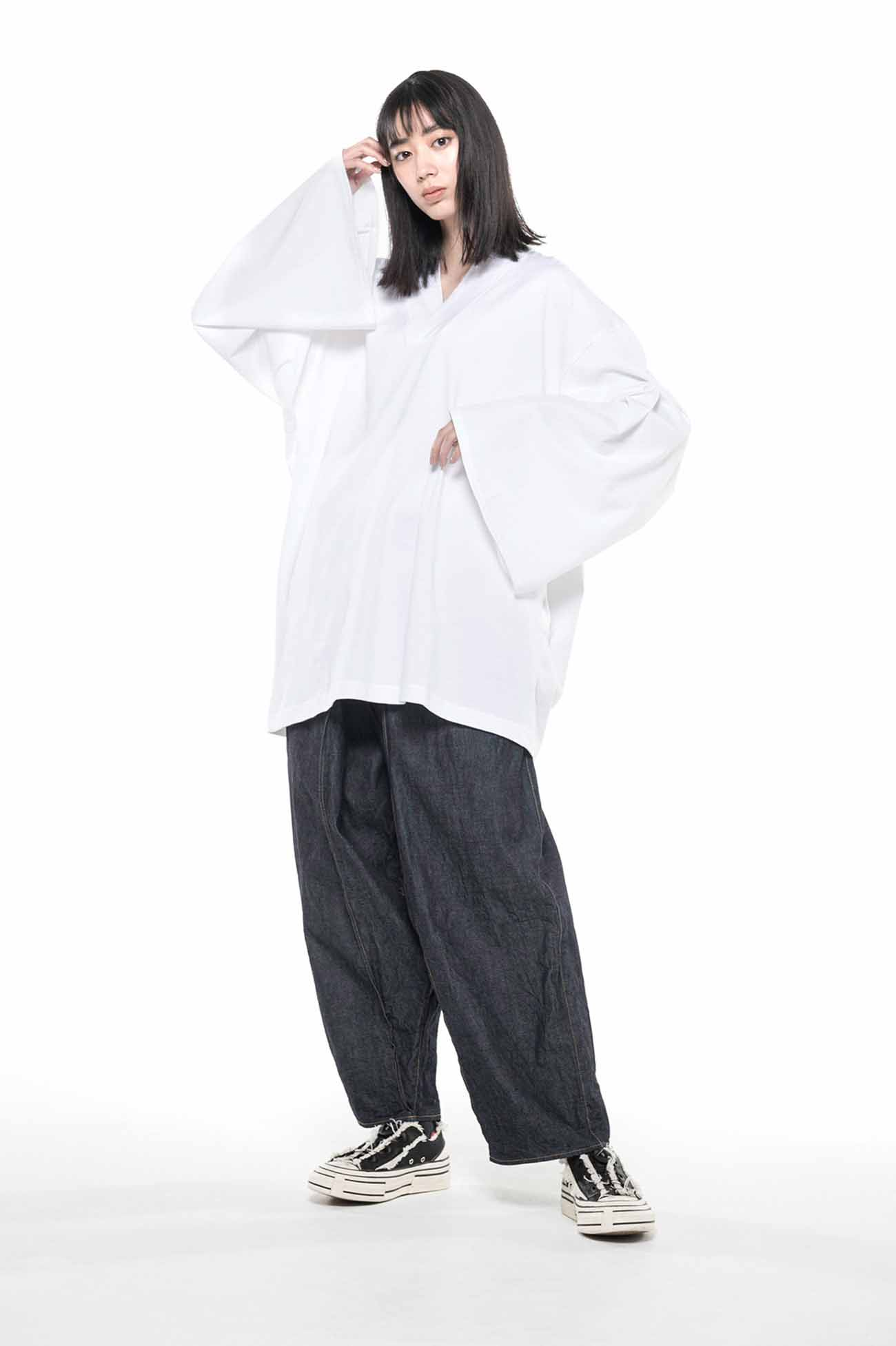 40/2 Cotton Jersey Kimono Layered Vneck 6part Length Sleeve Pullover