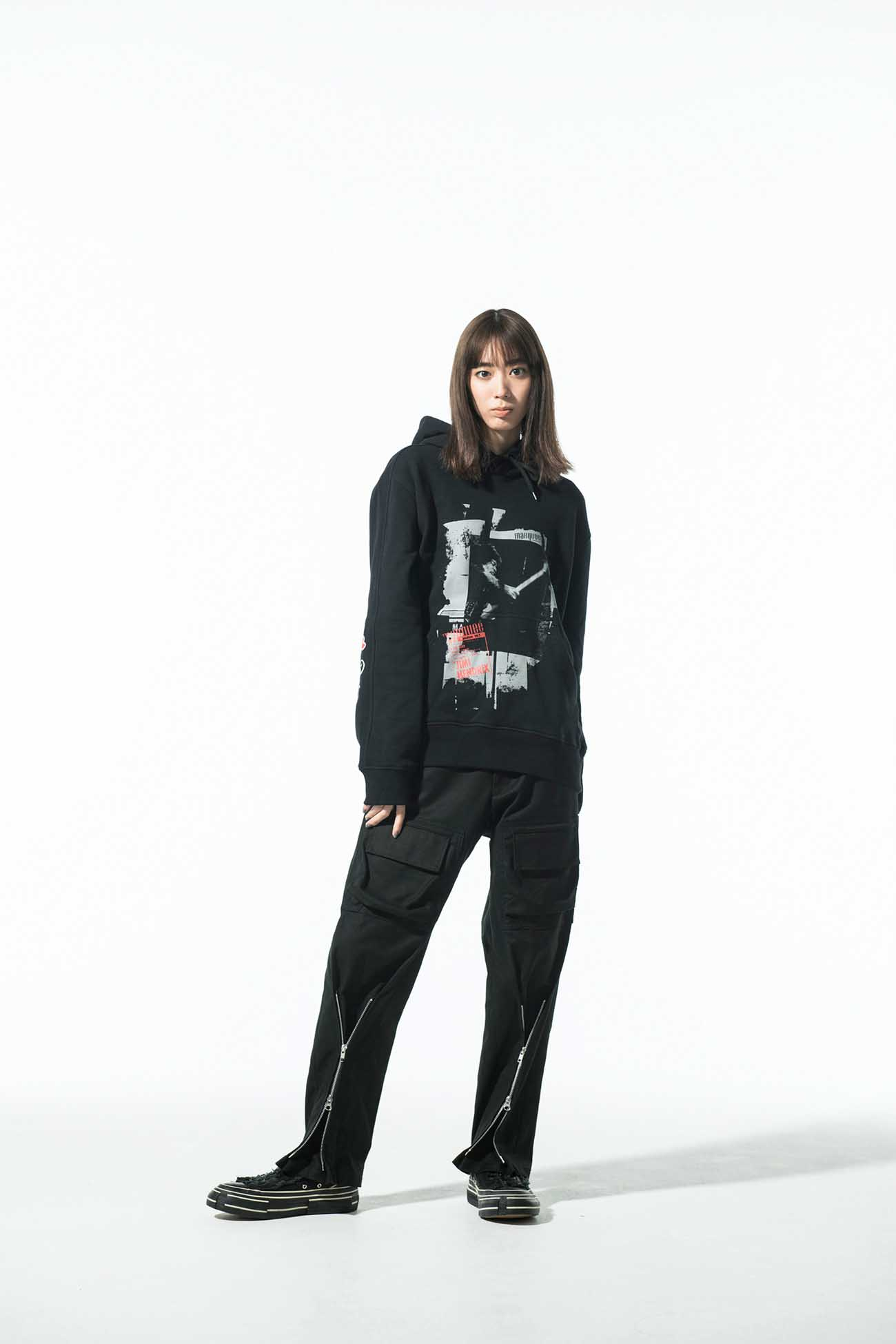 S'YTE × marquee club(TM) French Terry Stitch Work Poster Collage Hoodie