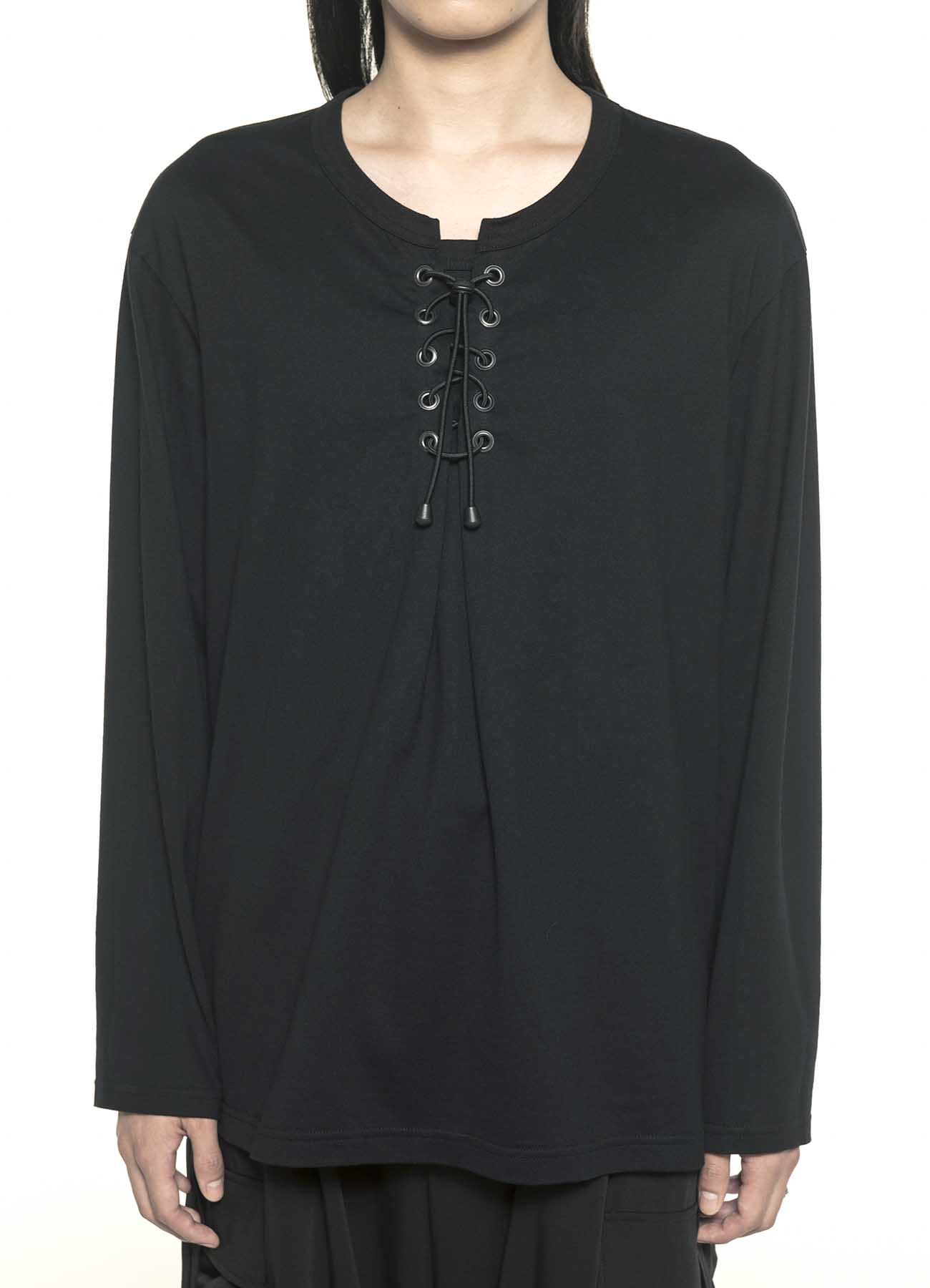 40/2 Cotton Jersey Lace-up Pullover Long Sleeve T