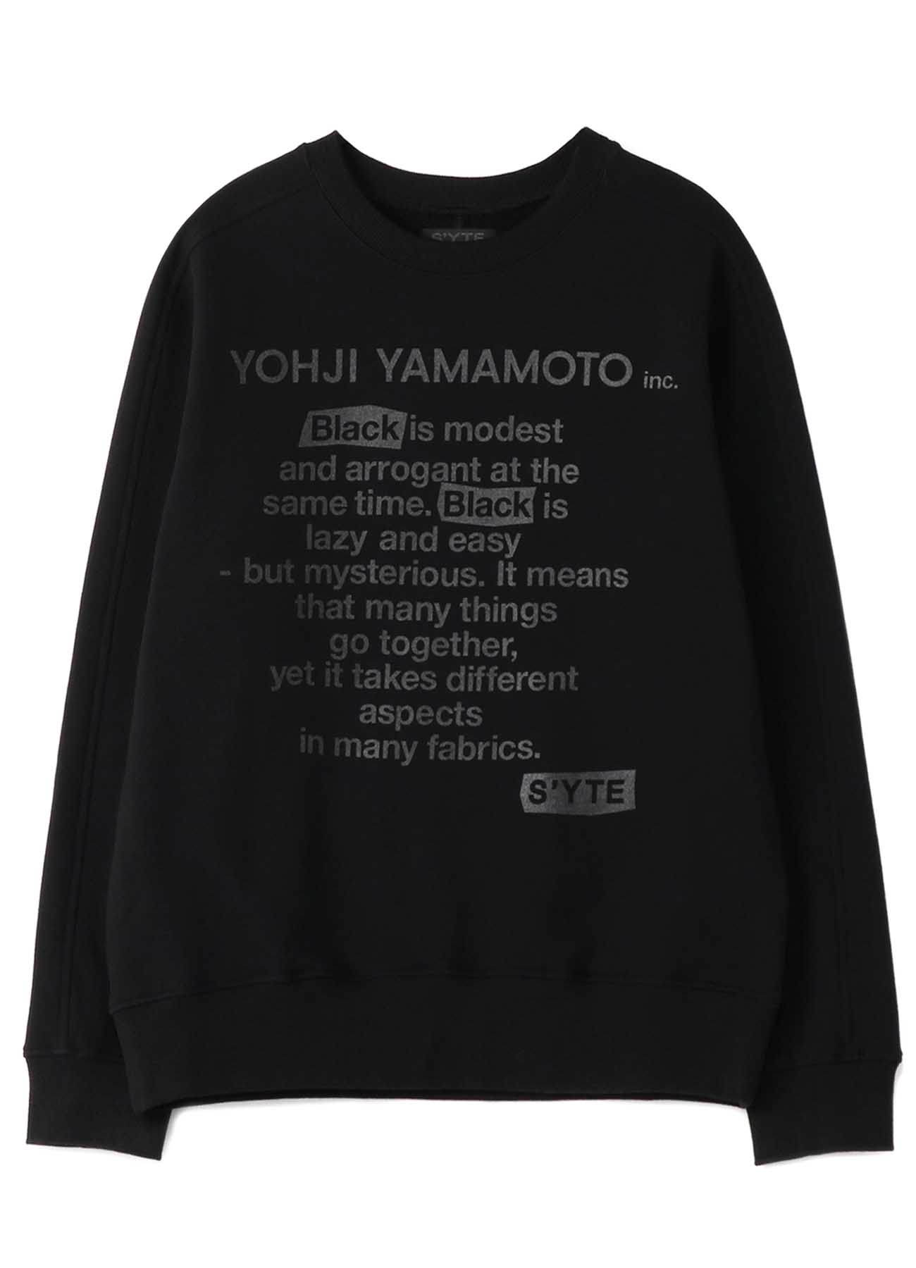 French Terry Stitch Work「Black is Modest」Message Crewneck Pullover