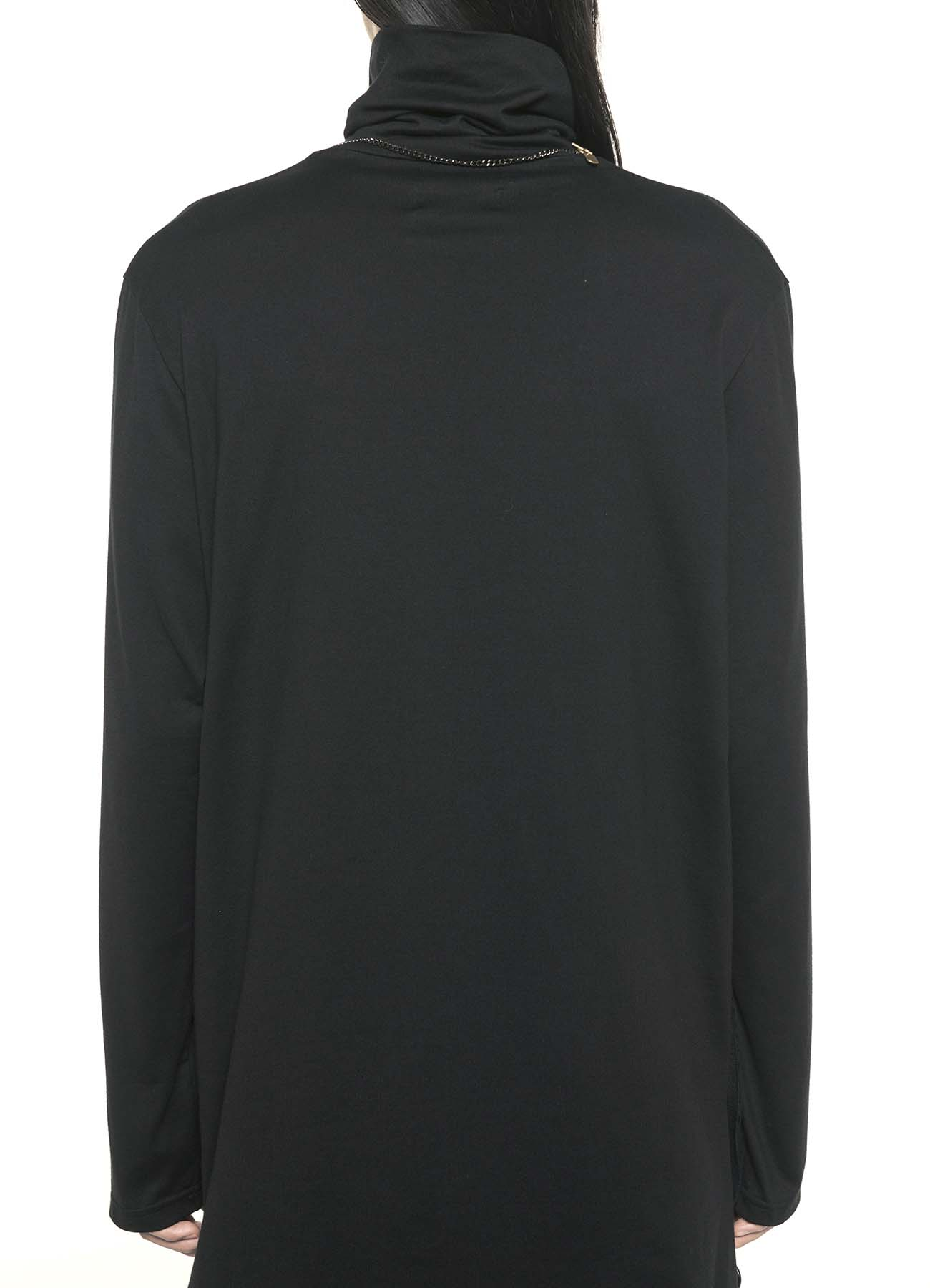 40/2 Jersey Slit Button Turtle Long Big Pullover