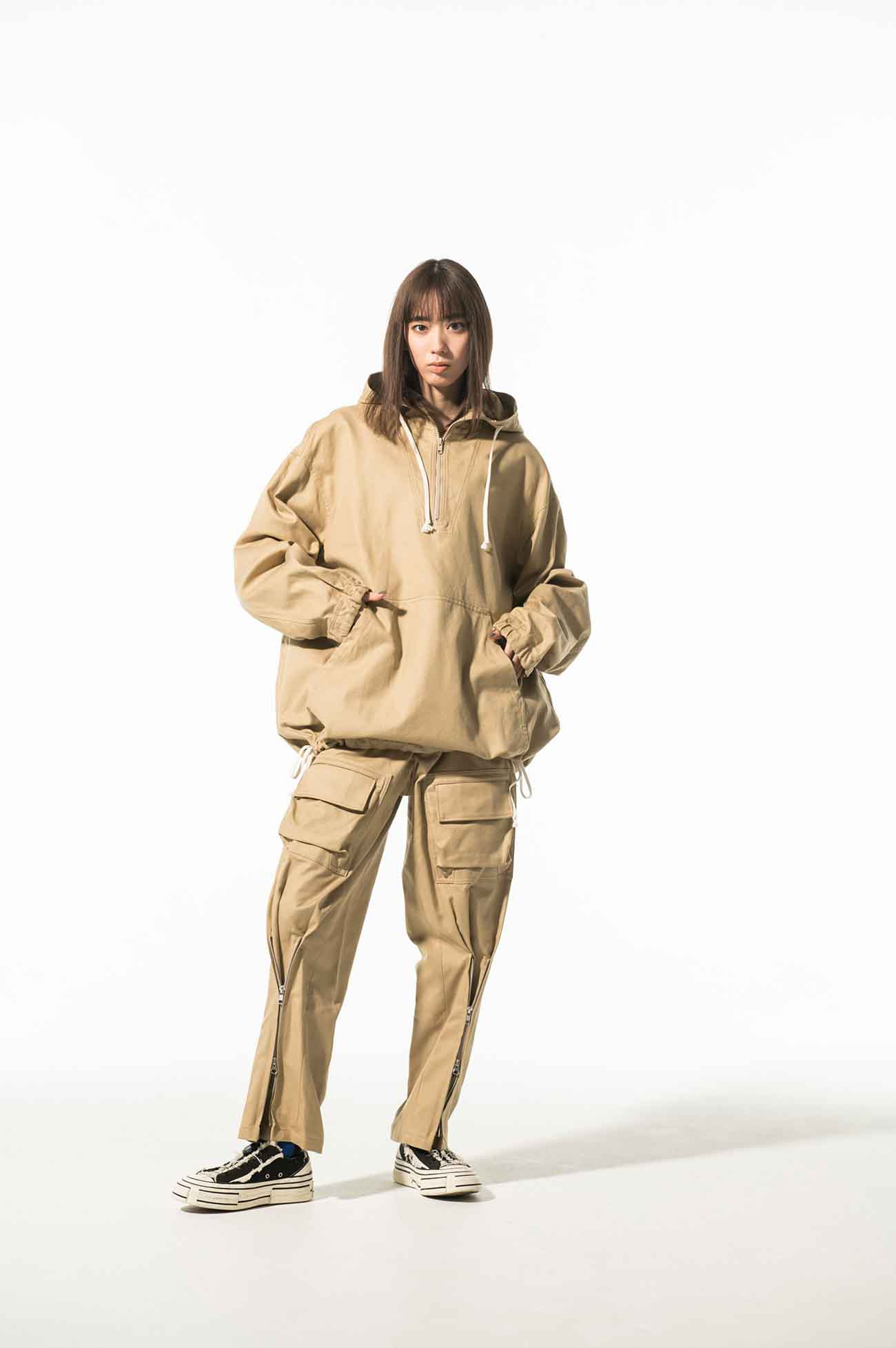 French Worker Surge Military Pullover Zip Hood Jacket