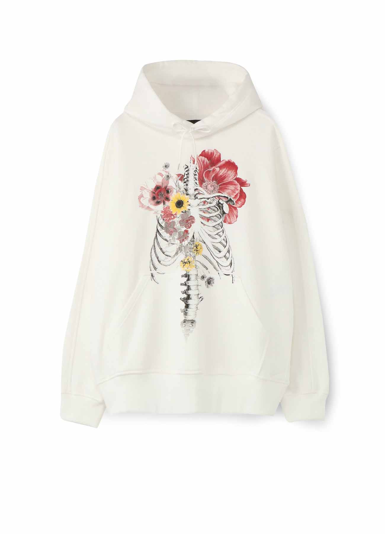 French Terry Stitch WorkBones and Flowers Hoodie