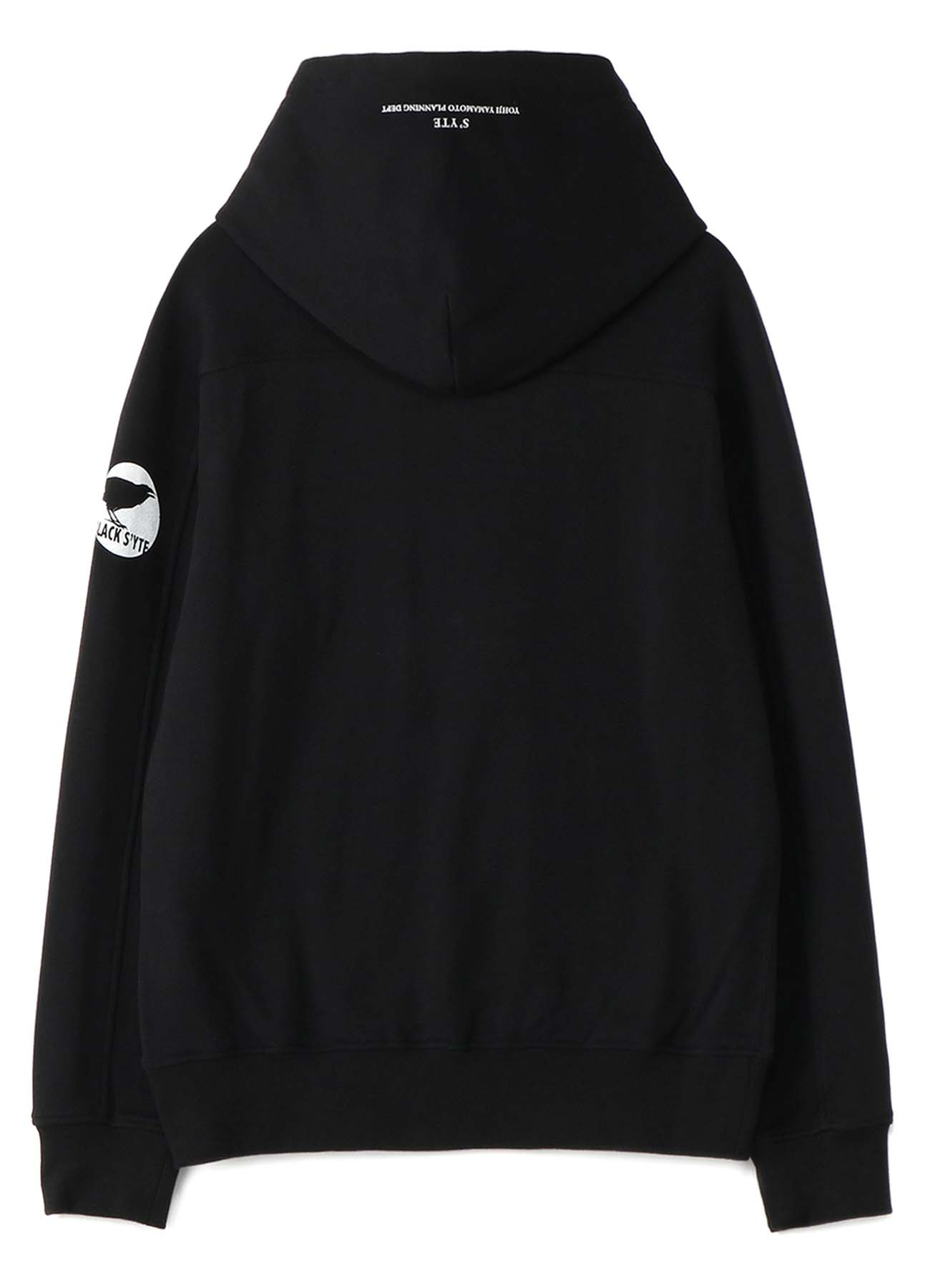 French Terry Stitch Work Message&Crow Hoodie