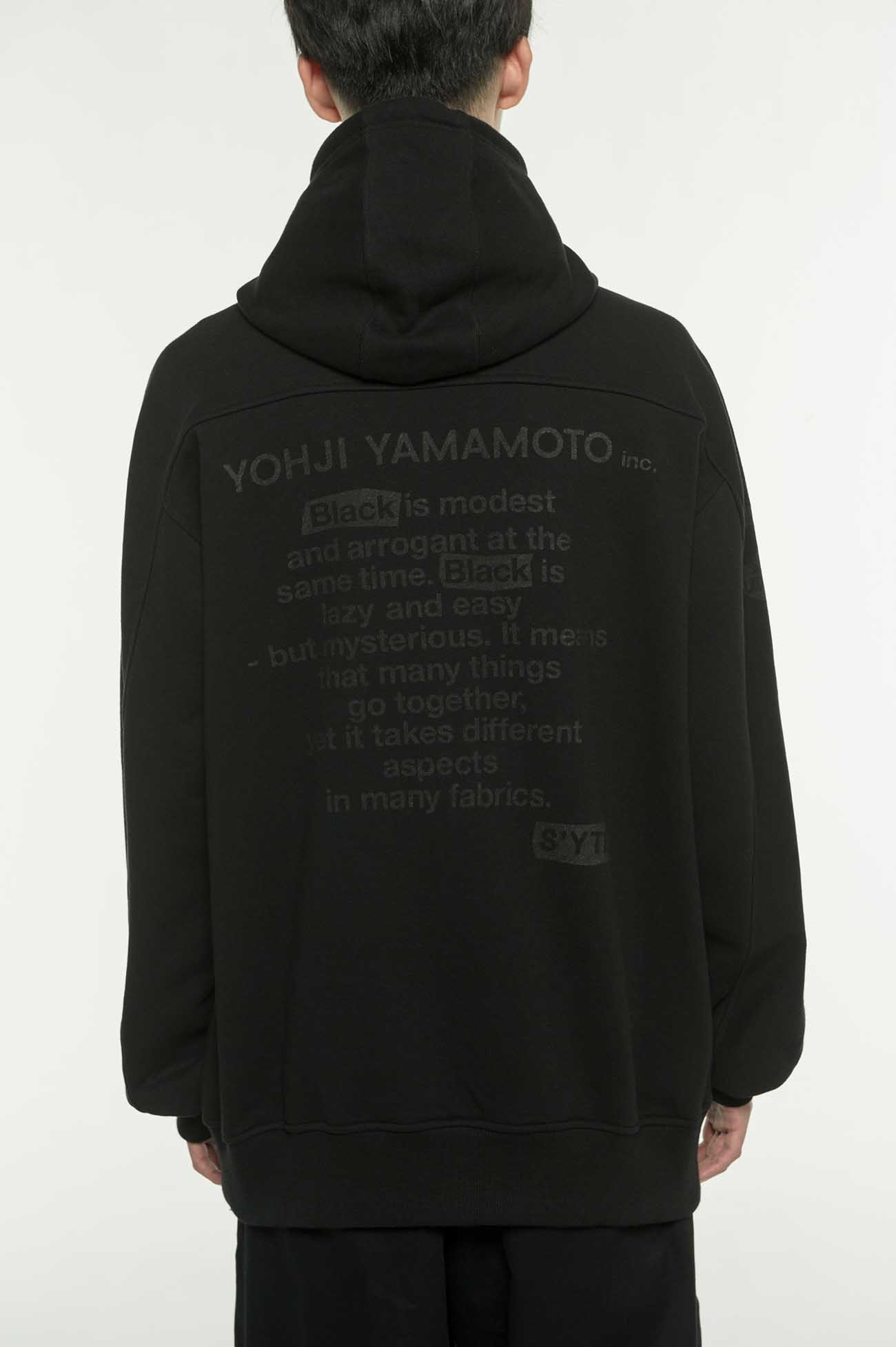 French Terry Stitch Work Message&Crow Zipper Blackout Hoodie