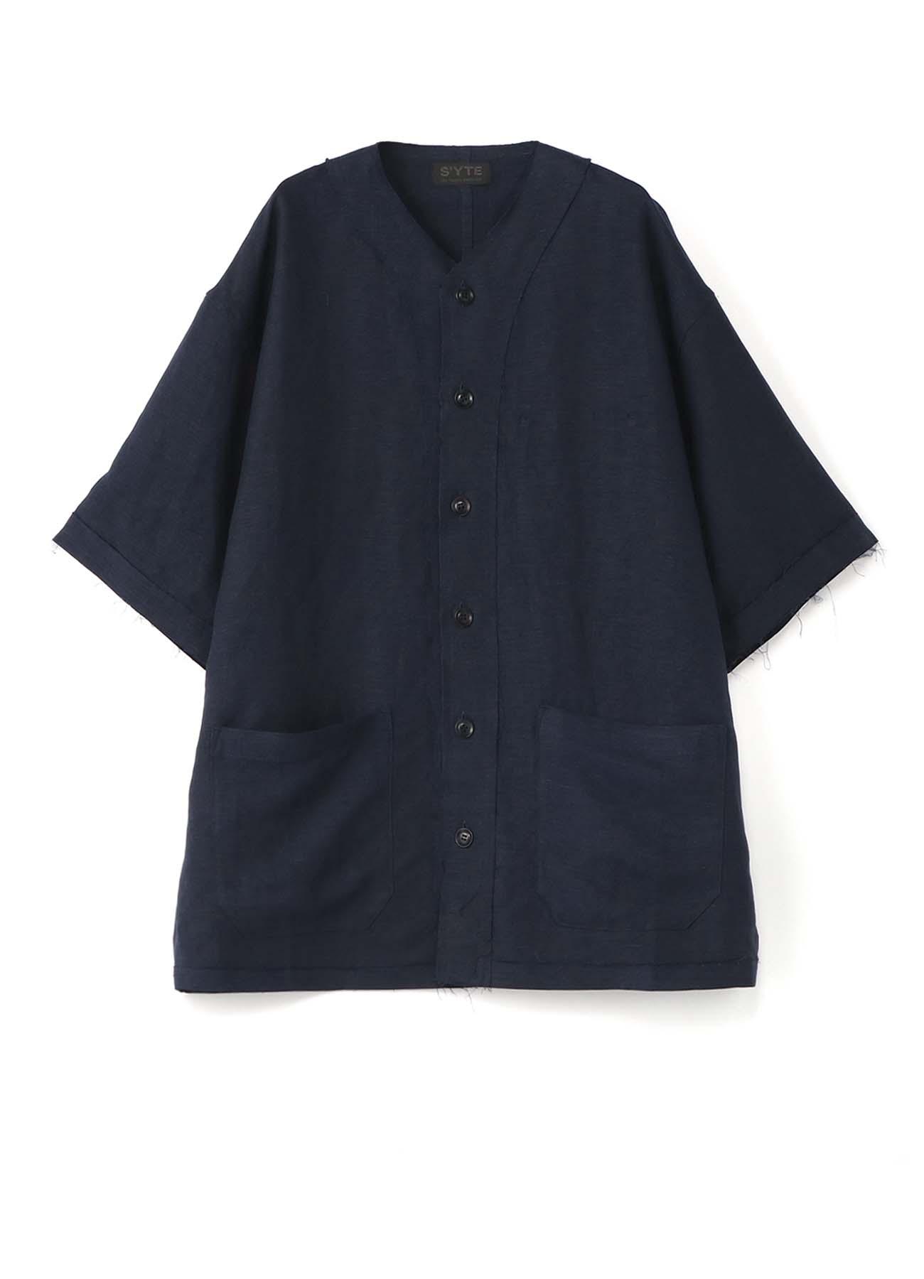 Rayon Linen Easy Cross・B Big Baseball Shirt Jacket