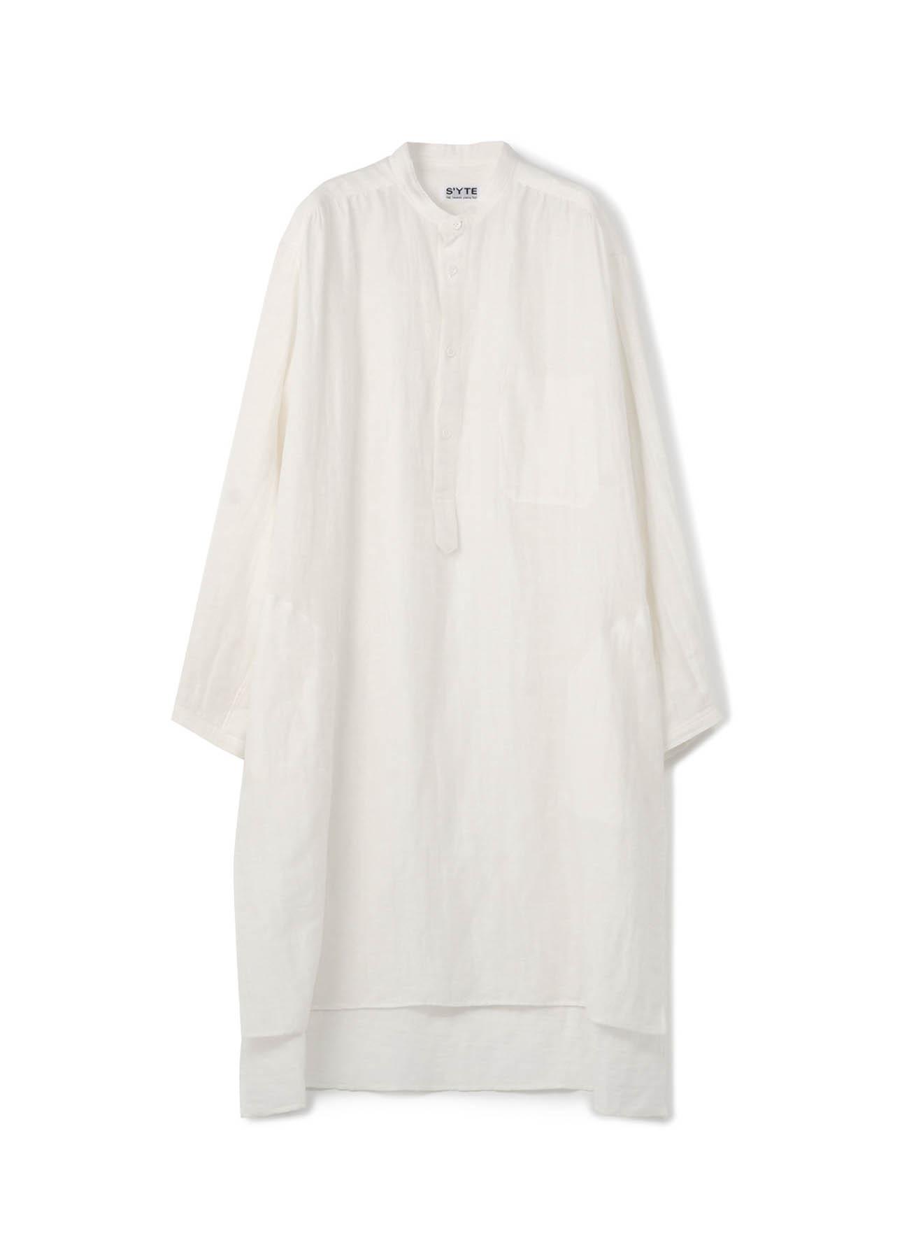 Linen Cotton Double Gauze Stand Gather Pullover Big Long Shirt