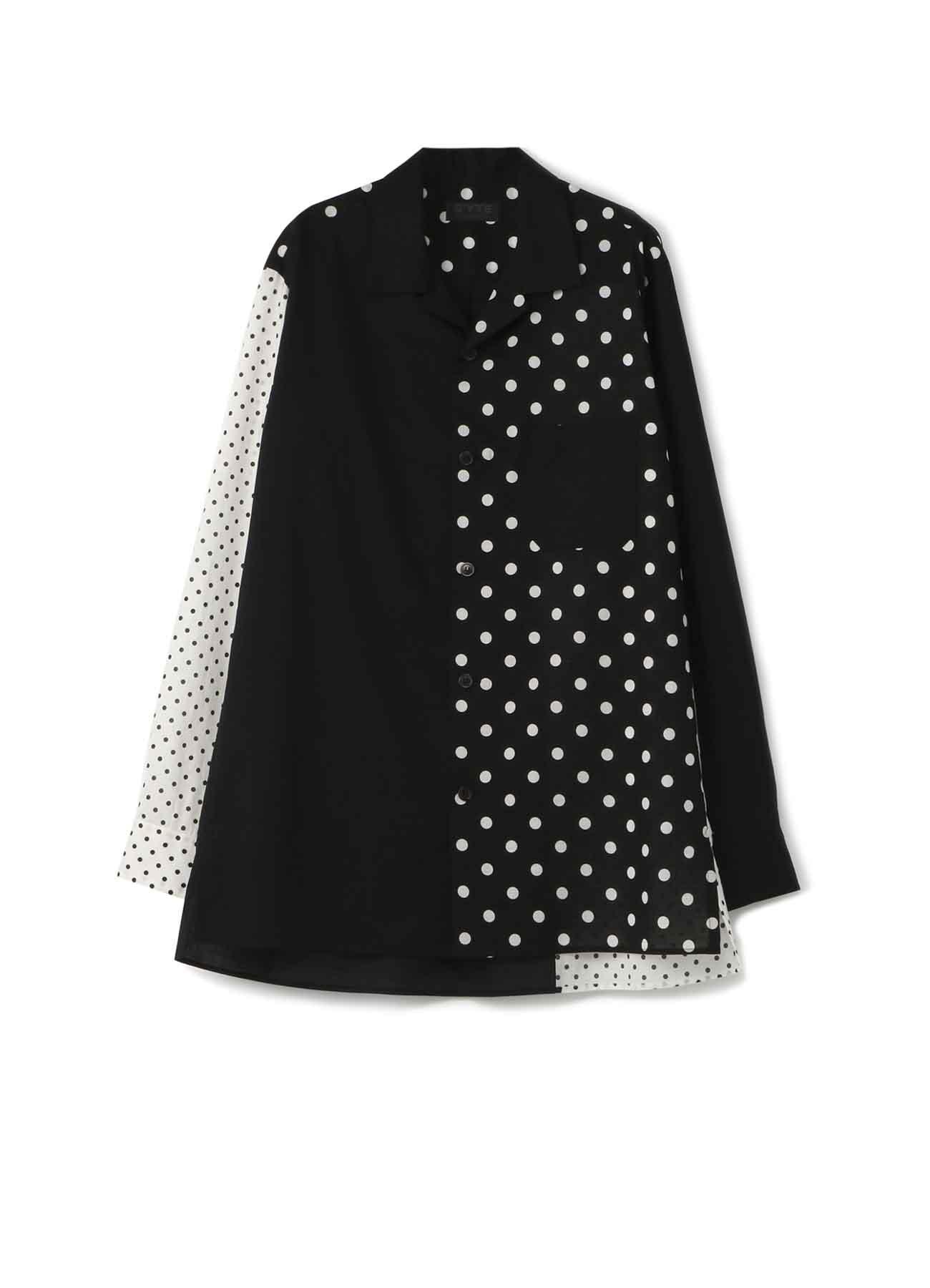 Dot Panel Open Collar Shirt